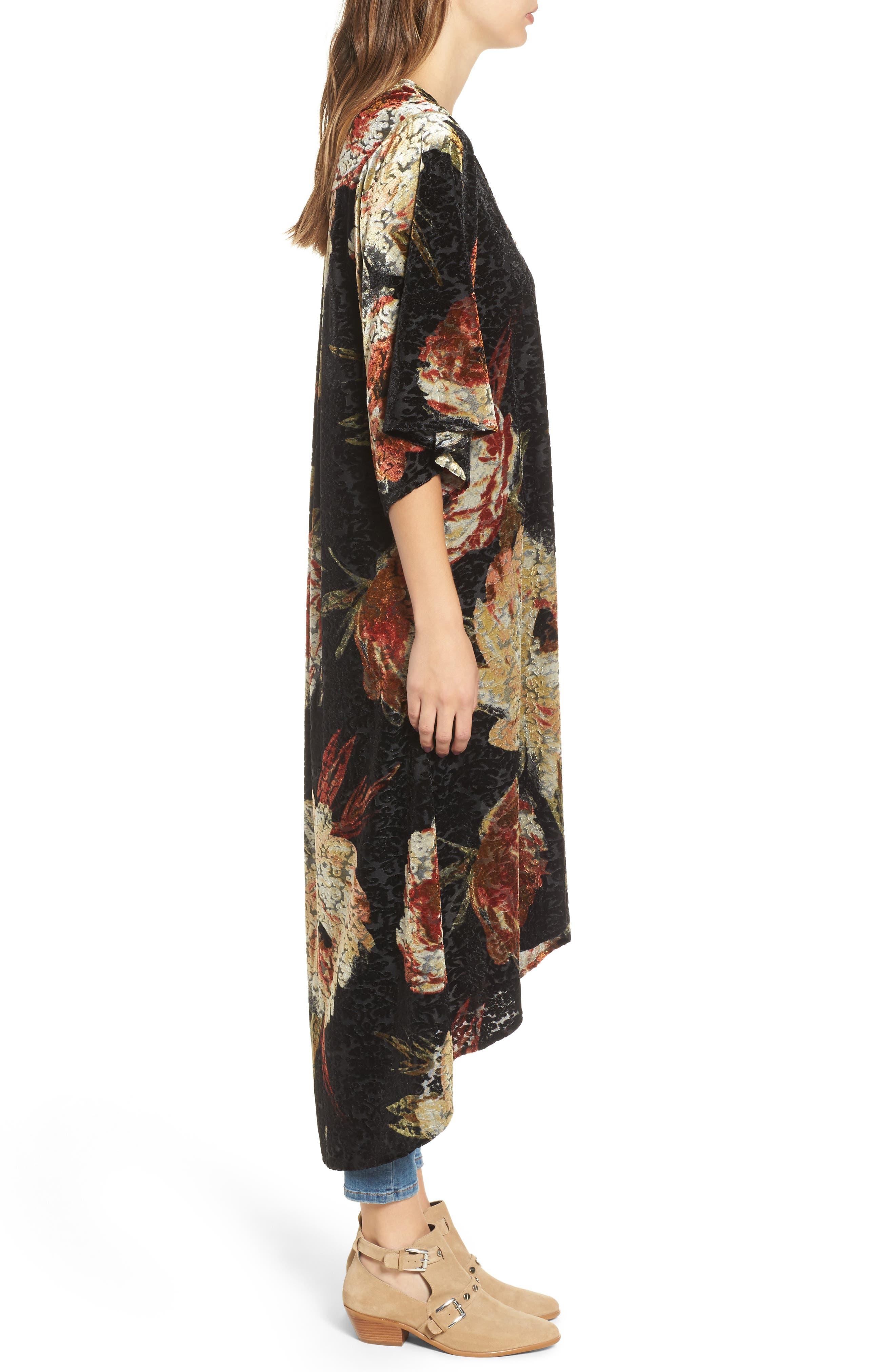 Burnout Floral Kimono,                             Alternate thumbnail 3, color,                             Black Floral