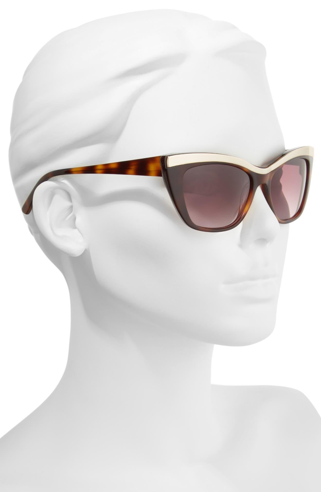 54mm Rectangle Cat Eye Sunglasses,                             Alternate thumbnail 2, color,                             Tortoise