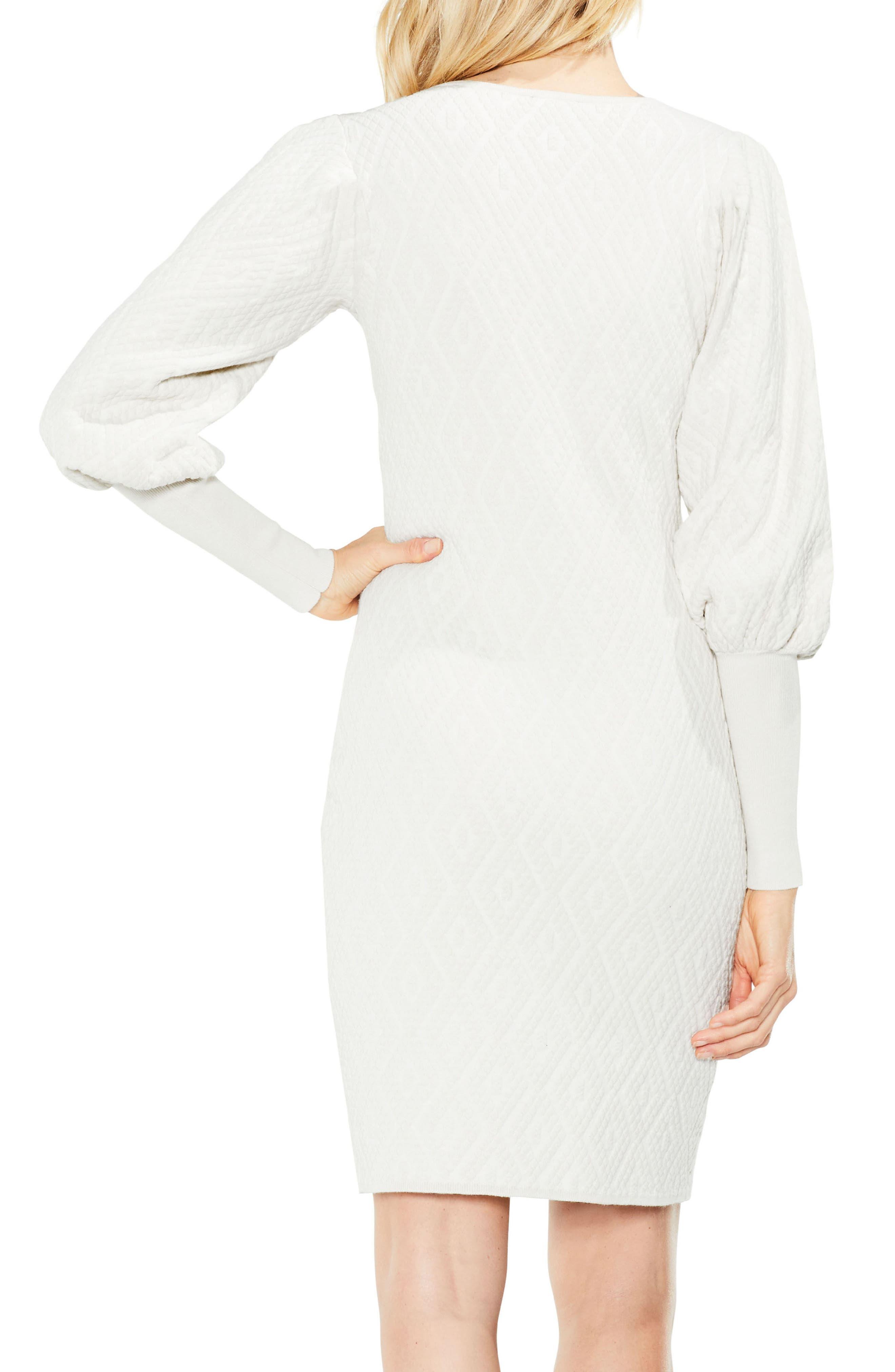 Bubble Sleeve Textured Jacquard Dress,                             Alternate thumbnail 2, color,                             Pearl Ivory