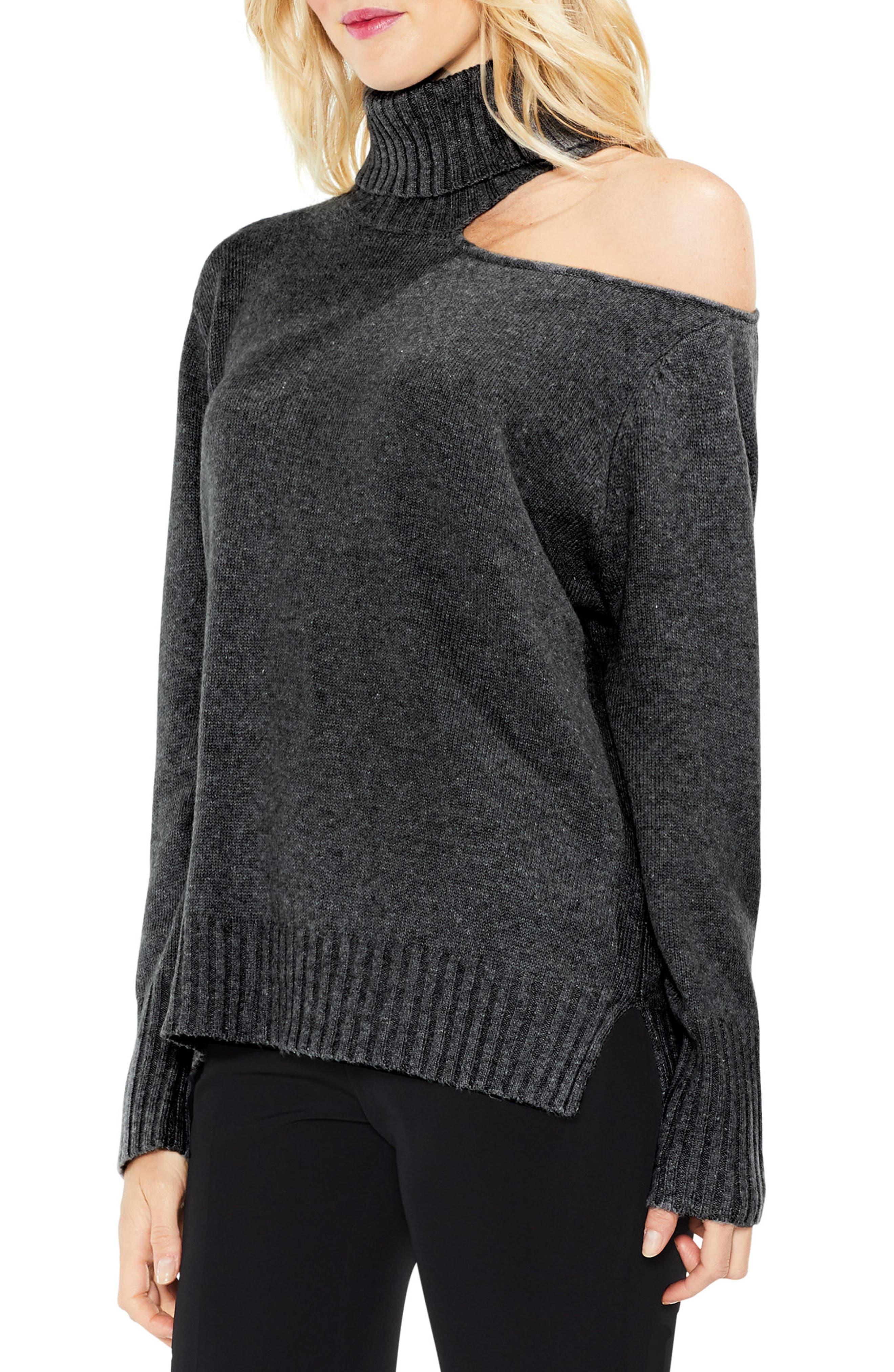 Vince Camuto Asymmetrical Cold Shoulder Turtleneck Sweater