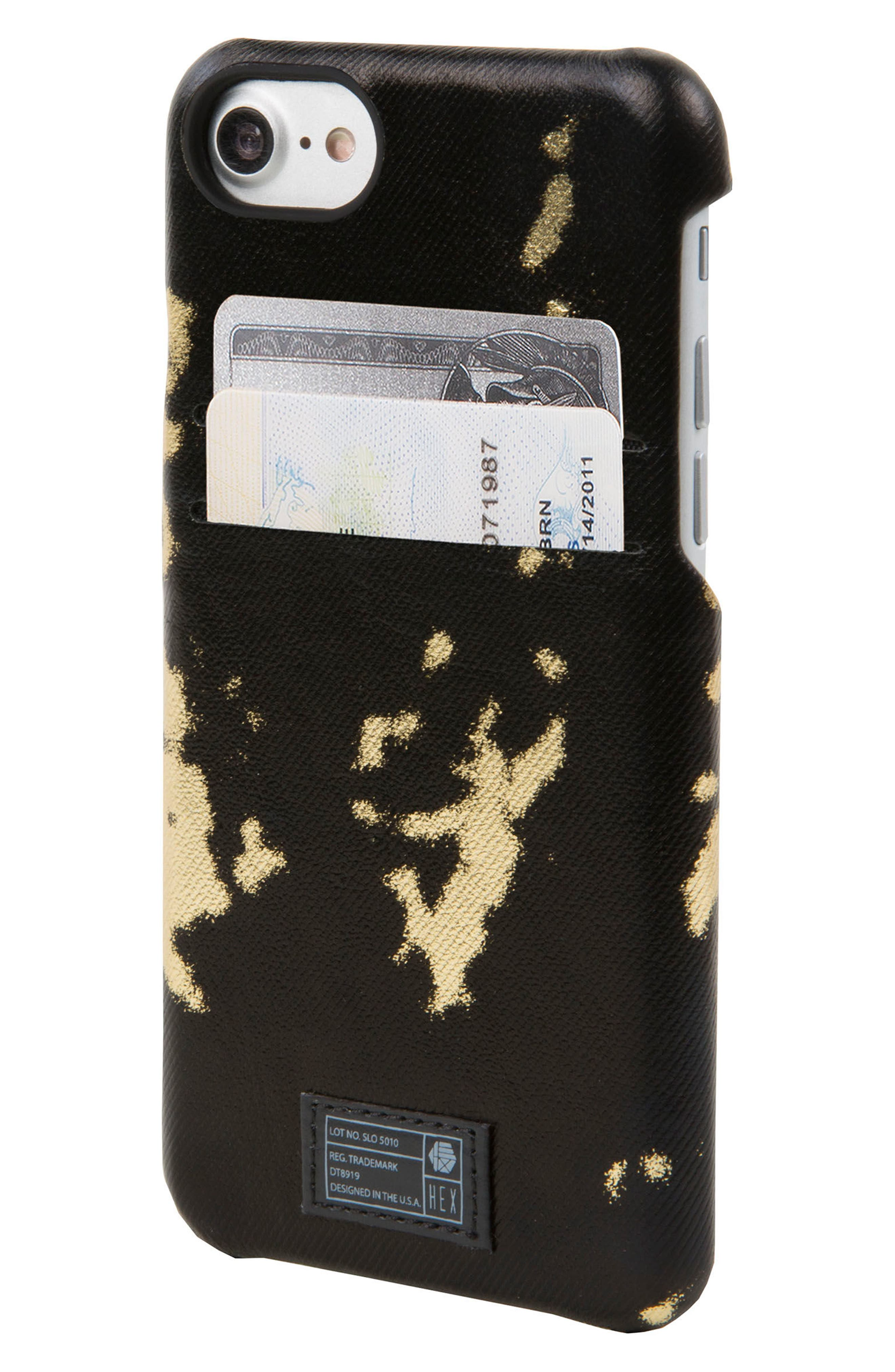 Solo iPhone 6/6s/7/8 Wallet Case,                             Alternate thumbnail 2, color,                             Black/ Gold