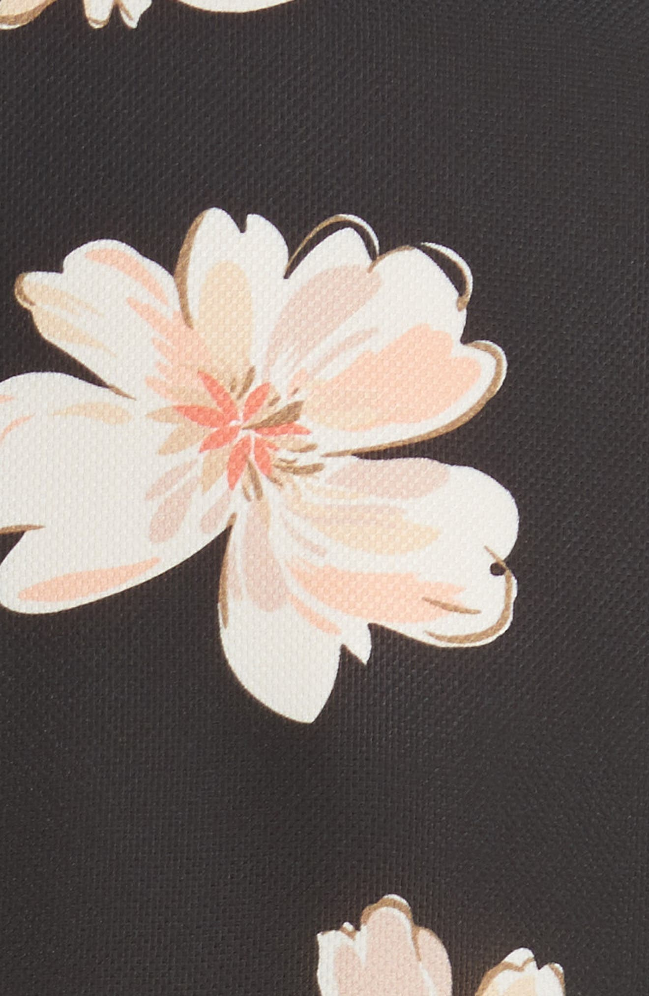 Arka Winterfloral Belted Midi Dress,                             Alternate thumbnail 5, color,                             Black Multi