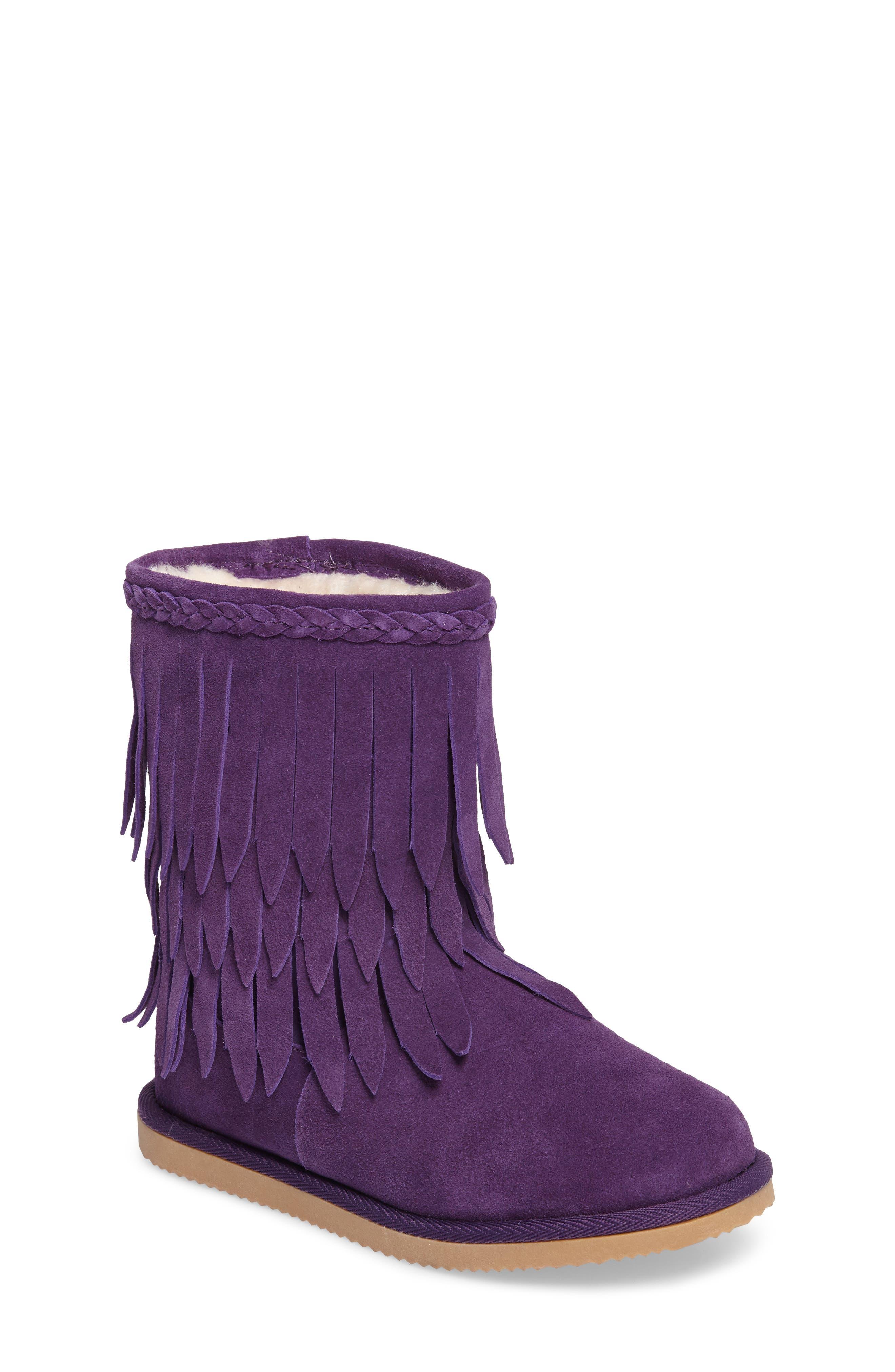 Elissa Faux Fur Fringed Bootie,                             Main thumbnail 1, color,                             Purple Suede