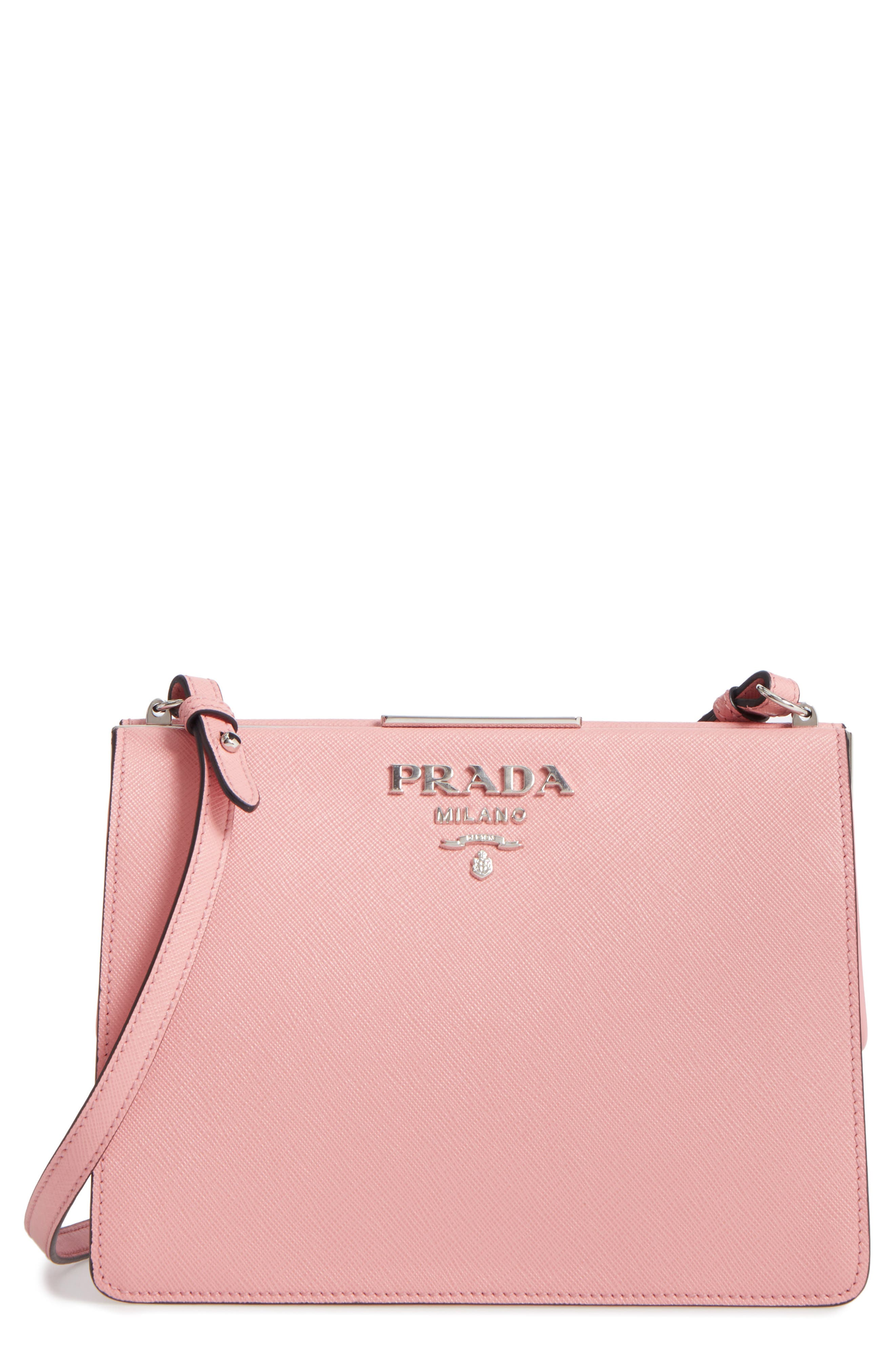 Prada Small Frame Saffiano & City Calfskin Leather Shoulder Bag