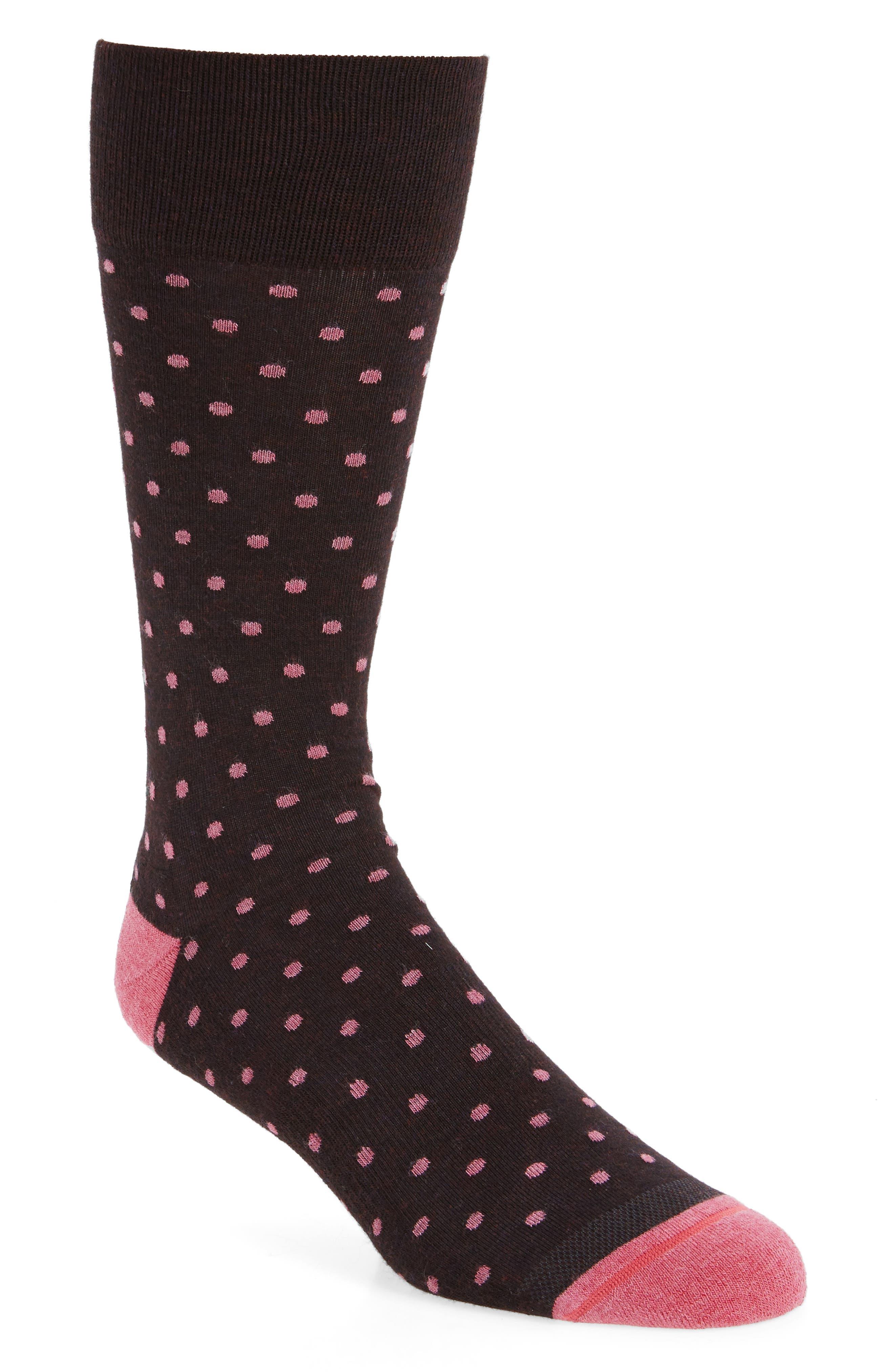 Dot Socks,                             Main thumbnail 1, color,                             Brown Heather