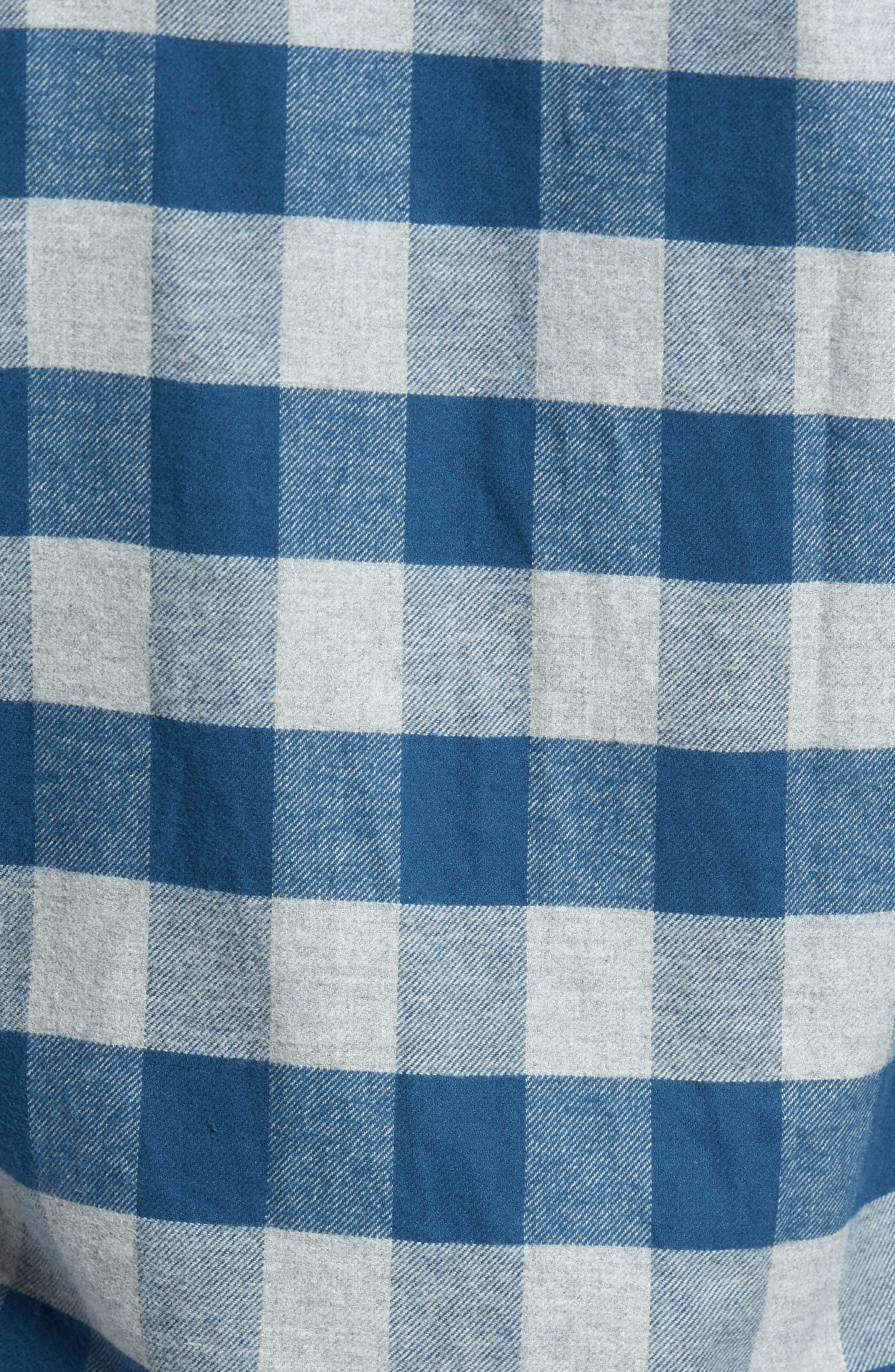Buffalo Check Flannel Shirt,                             Alternate thumbnail 5, color,                             Teal/ Med Grey Heather