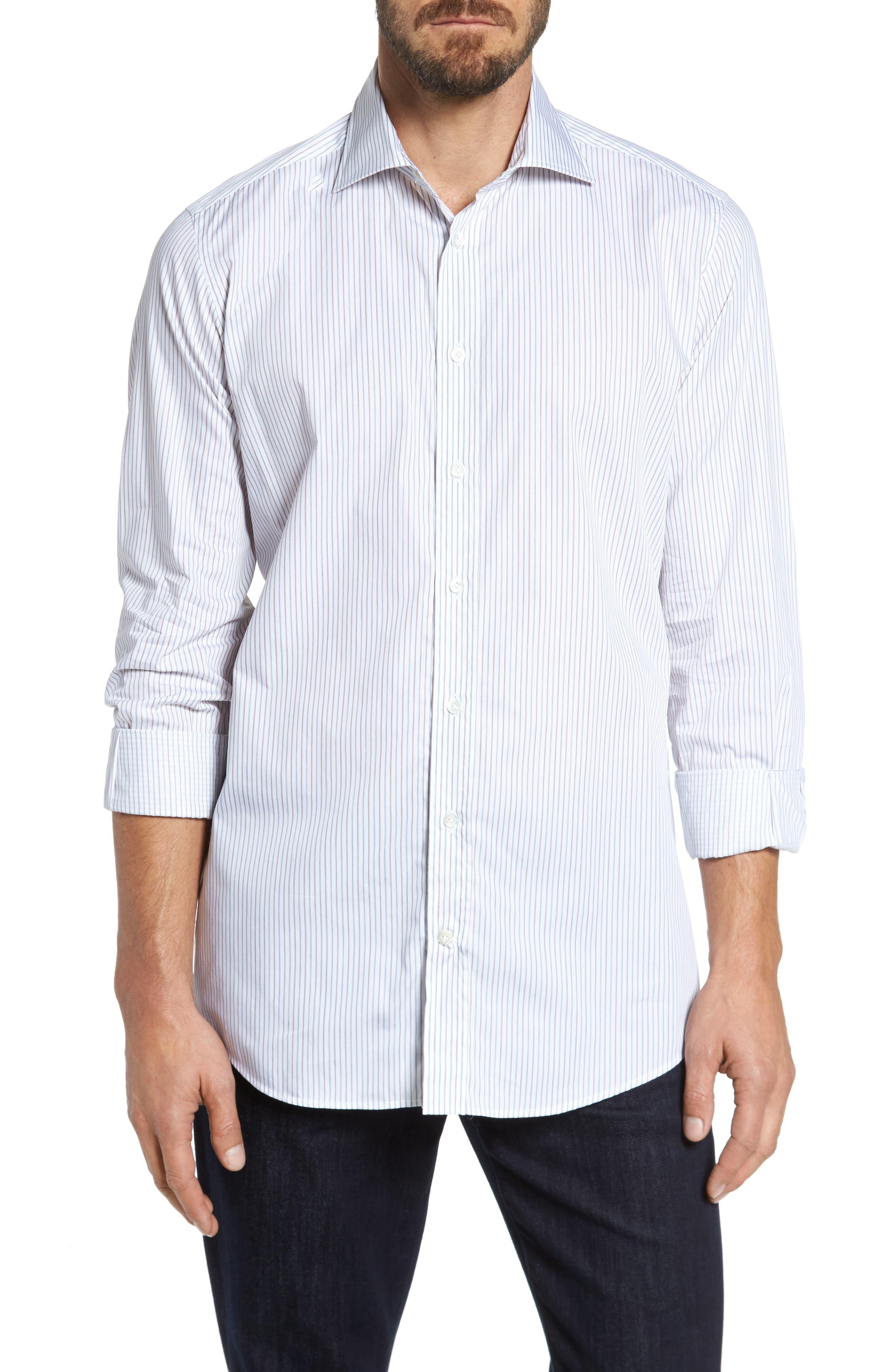 Classic Fit Stripe Sport Shirt,                         Main,                         color, White