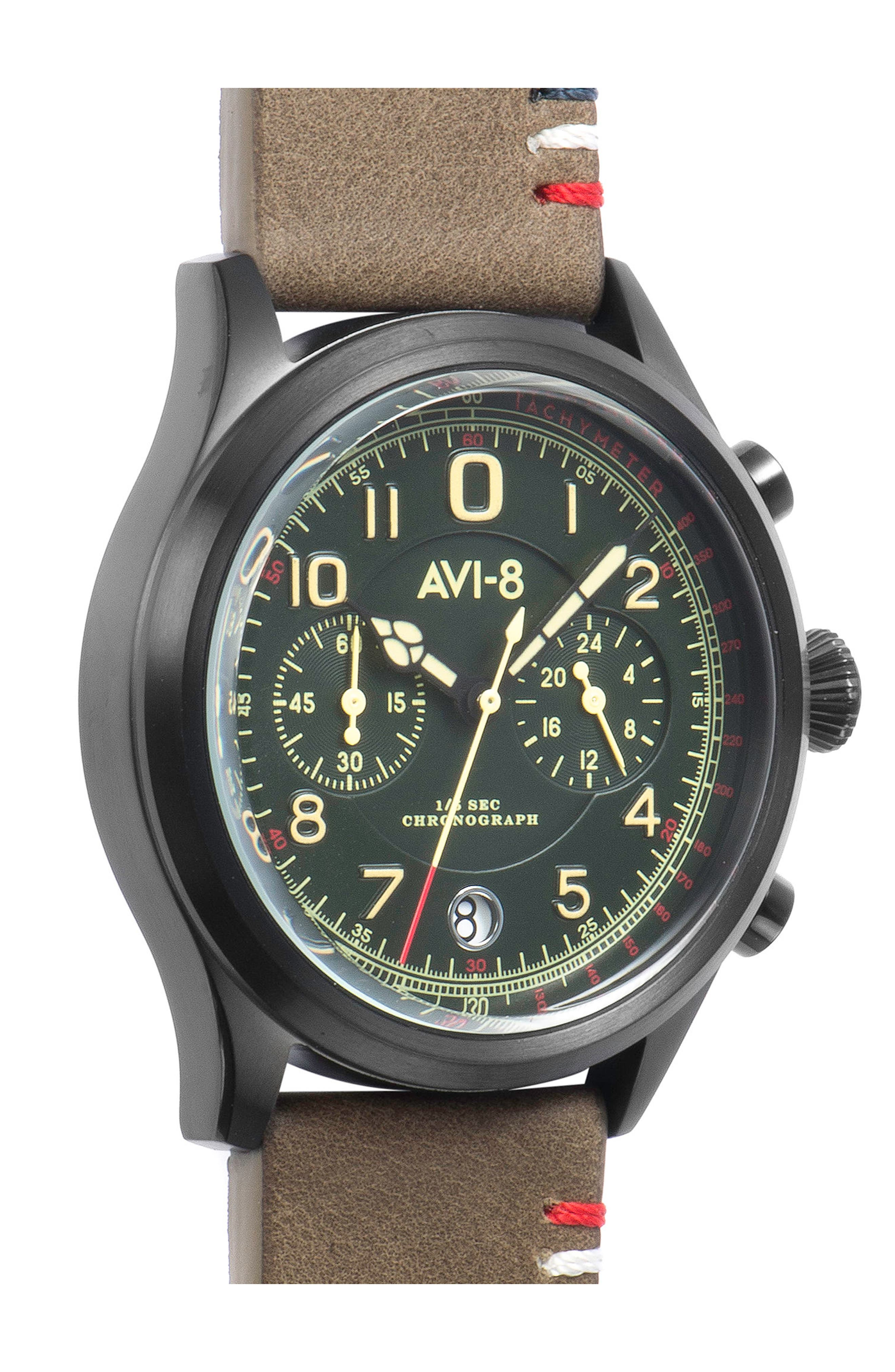 Flyboy Lafayette Chronograph Leather Strap Watch, 42mm,                             Alternate thumbnail 3, color,                             Green/ Natural