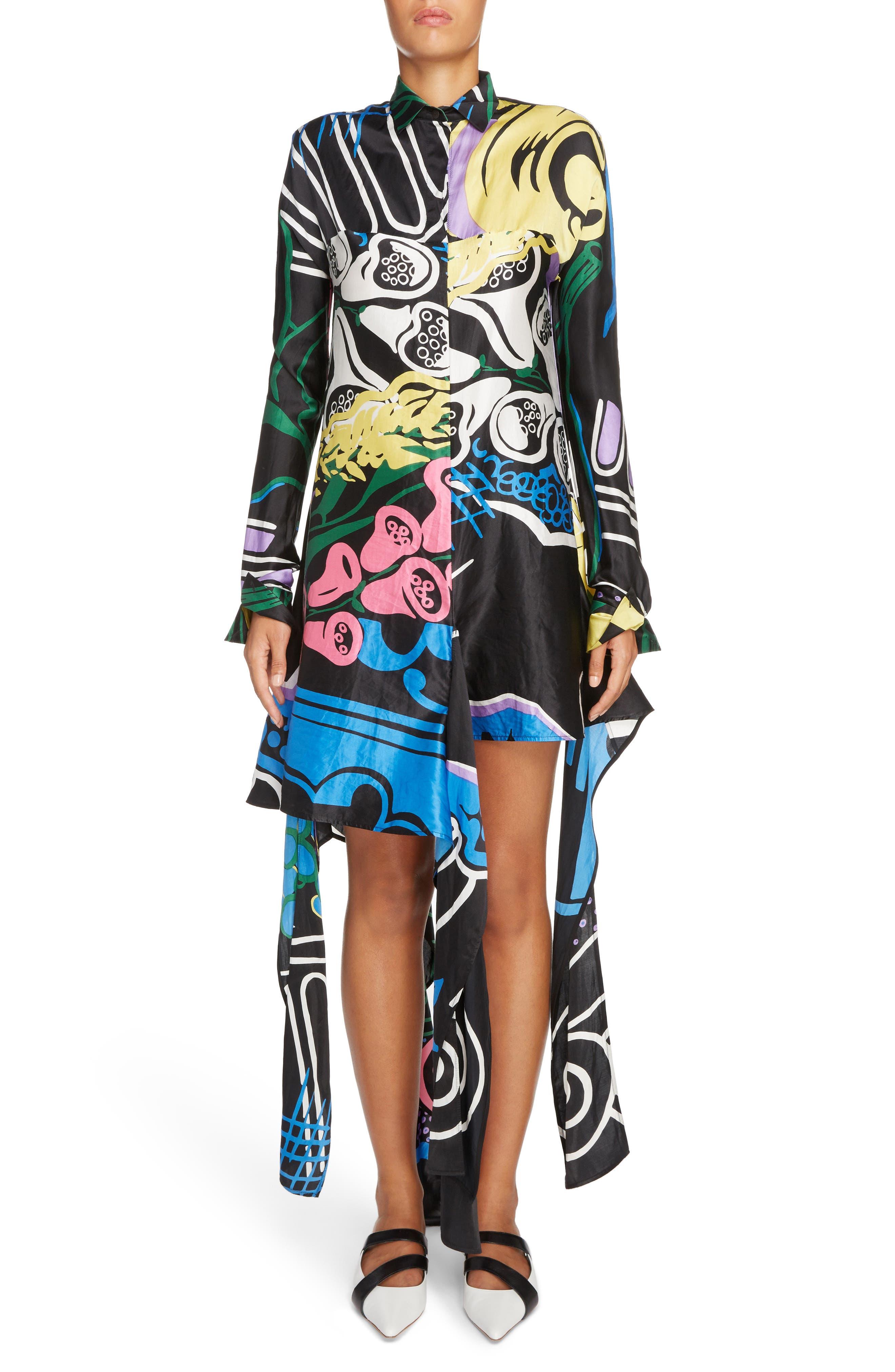 Foxglove Print Dress with Ribbon Detail,                         Main,                         color, Black Foxglove Print
