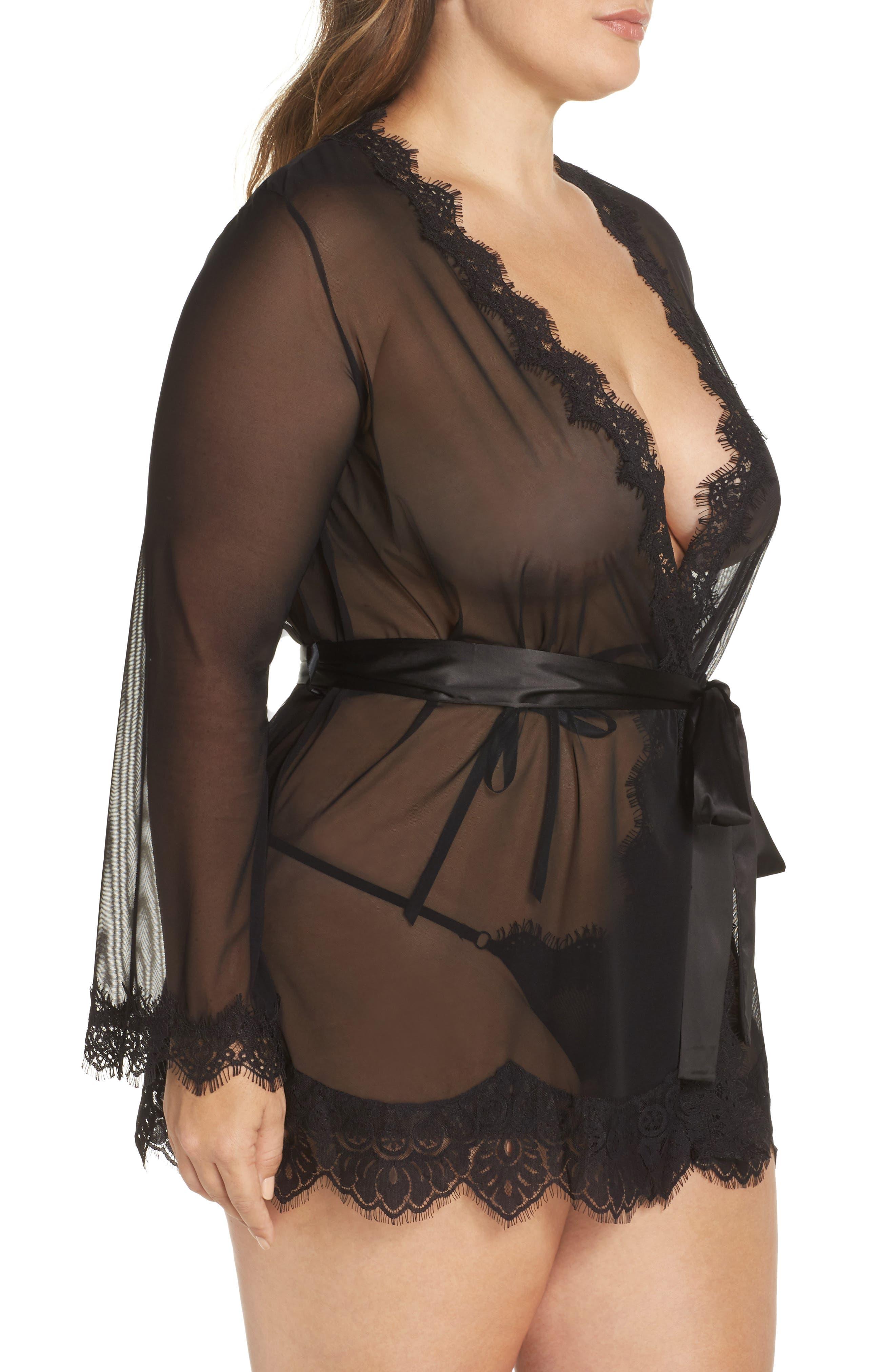 Alternate Image 3  - Oh La La Cheri Eyelash Curves Robe & G-String (Plus Size)