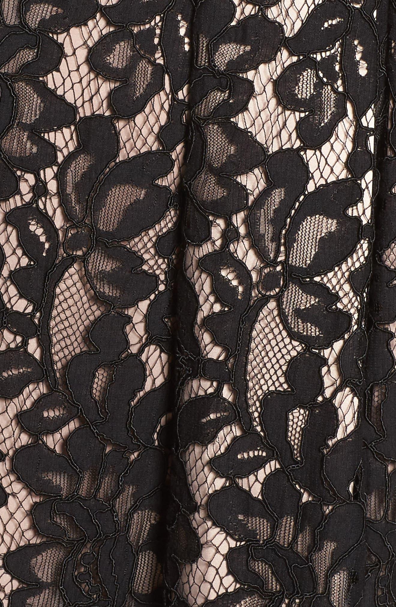 Fit & Flare Lace Dress,                             Alternate thumbnail 5, color,                             Black