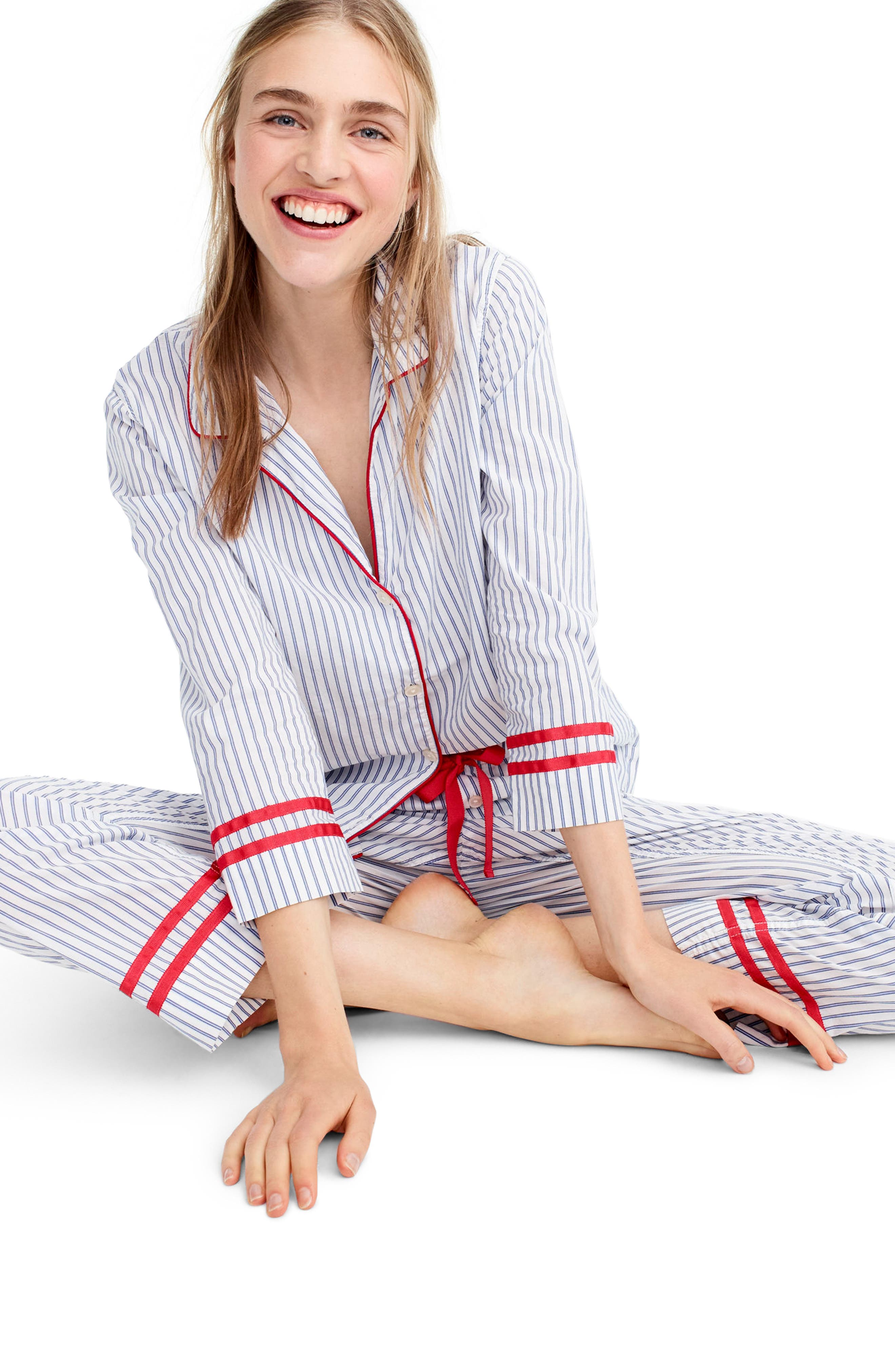 Stripe Pajamas,                             Alternate thumbnail 2, color,                             Ellen Stripe Ivory/ Cobalt