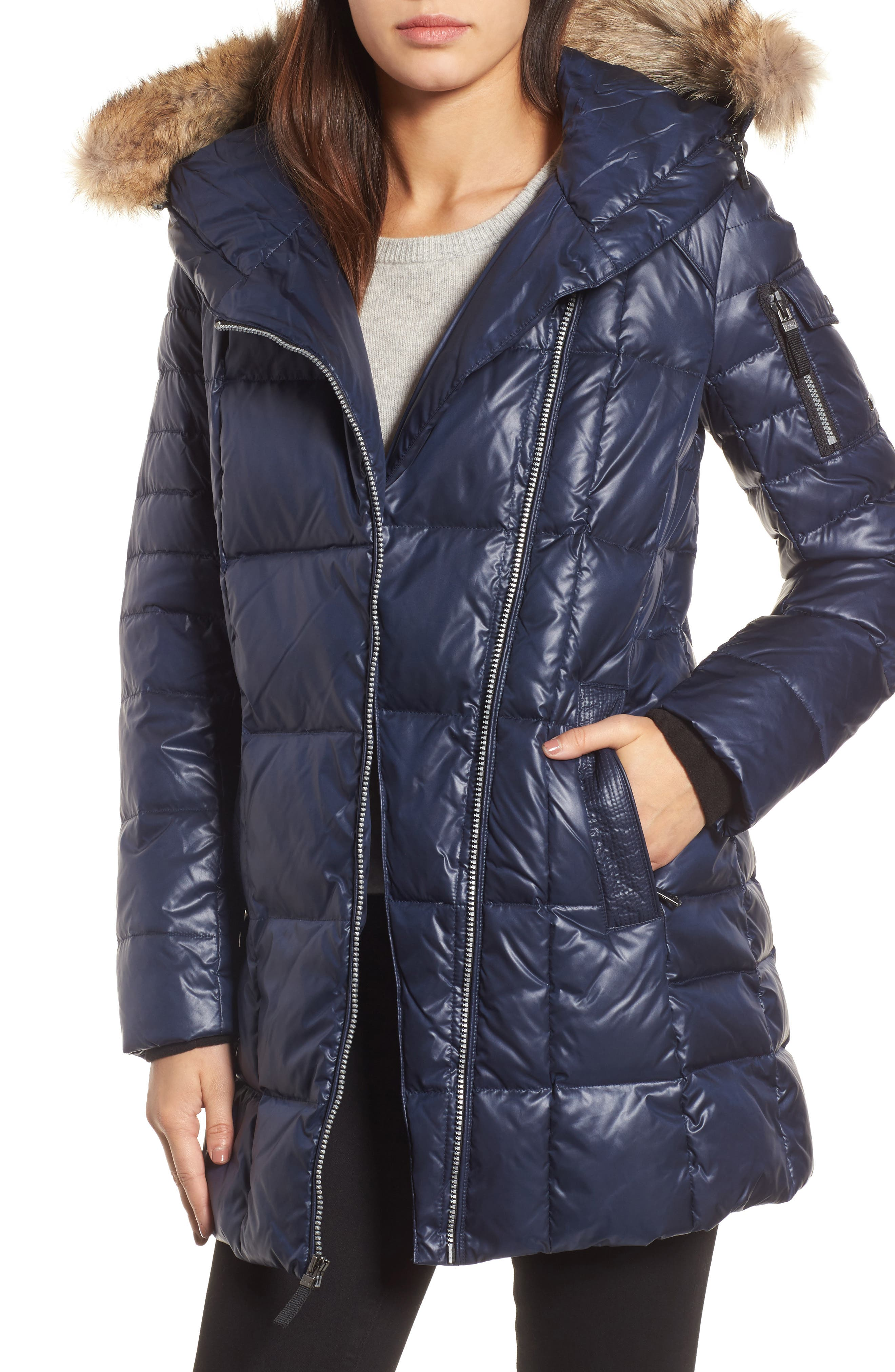 Down & Feather Fill Coat with Genuine Coyote Fur,                         Main,                         color, Navy
