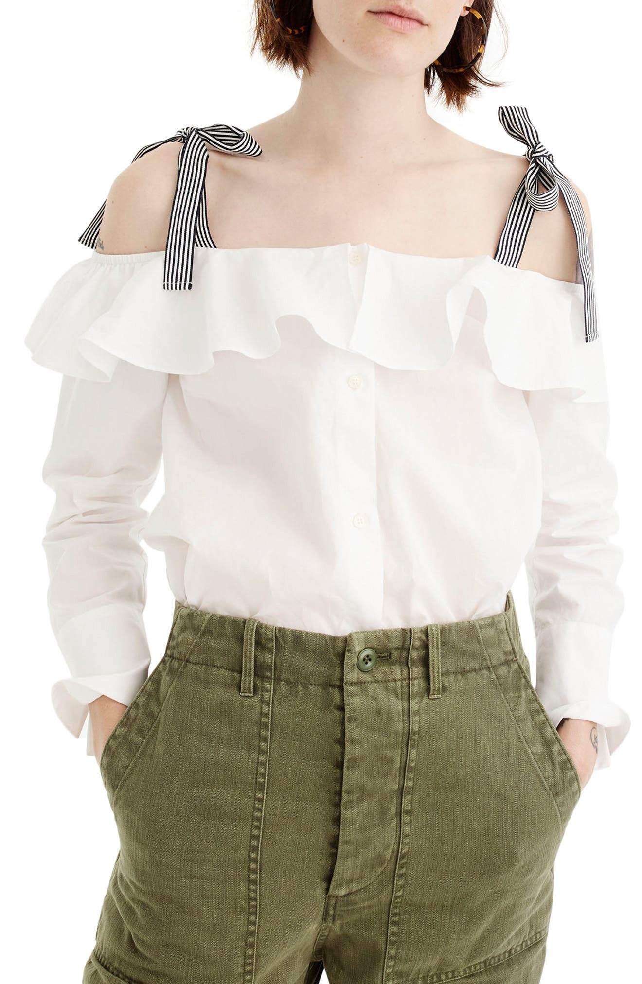 J.Crew Ribbon Cold Shoulder Top