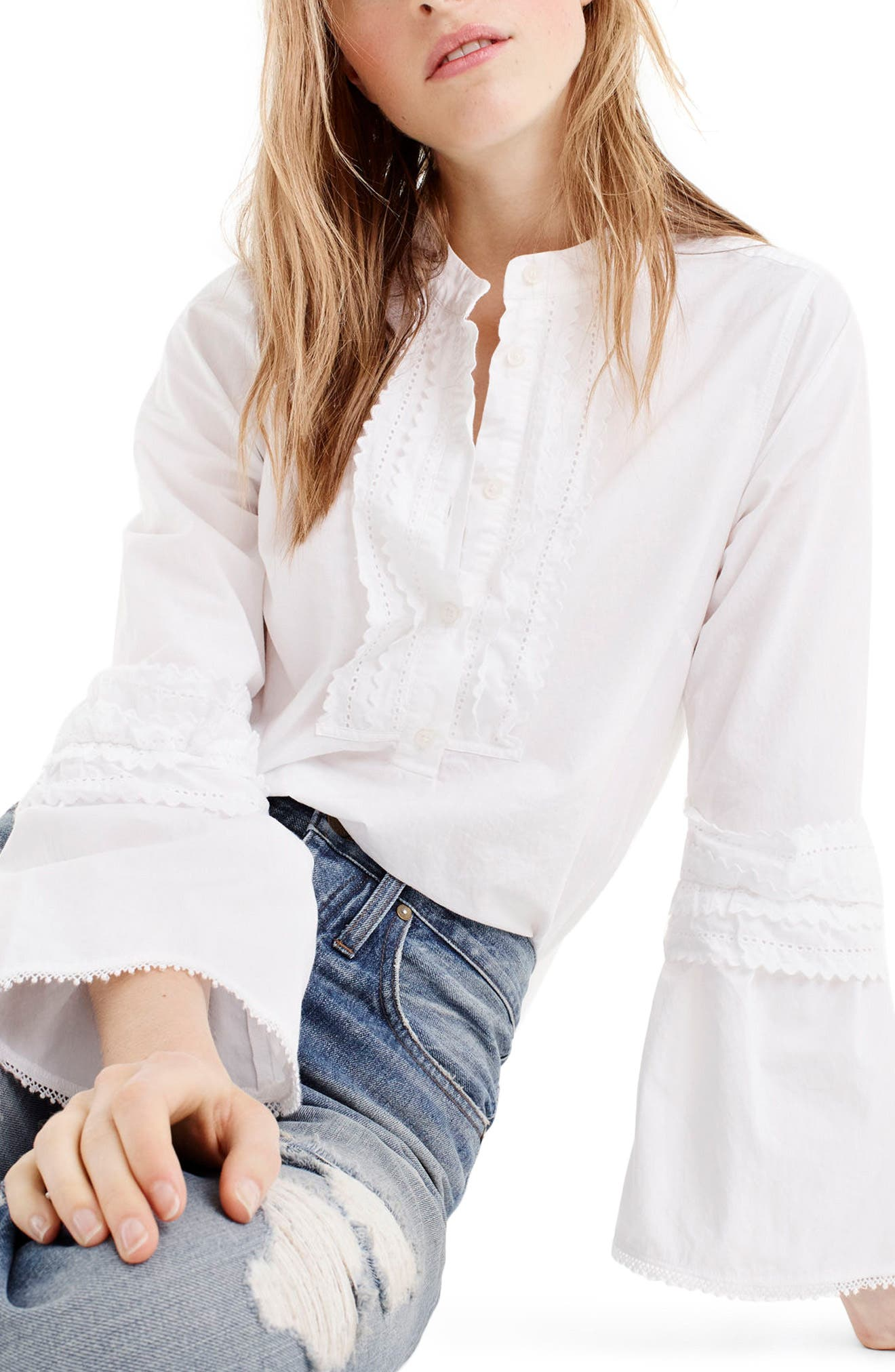 J.Crew Ludwig Embroidered Bell Sleeve Poplin Top (Regular & Petite)