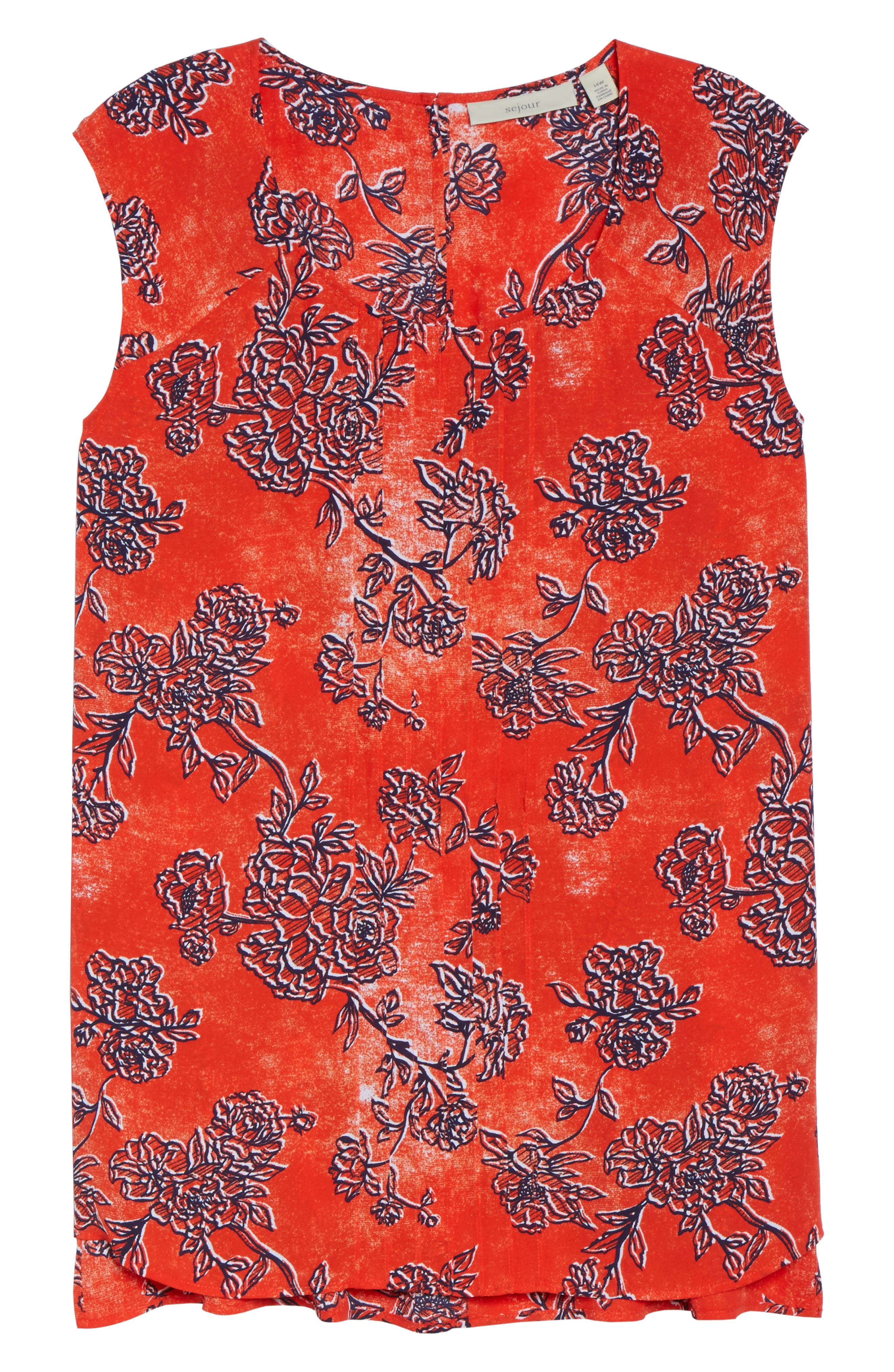 Pintuck Tank,                             Alternate thumbnail 6, color,                             Red Fiery Floral Print