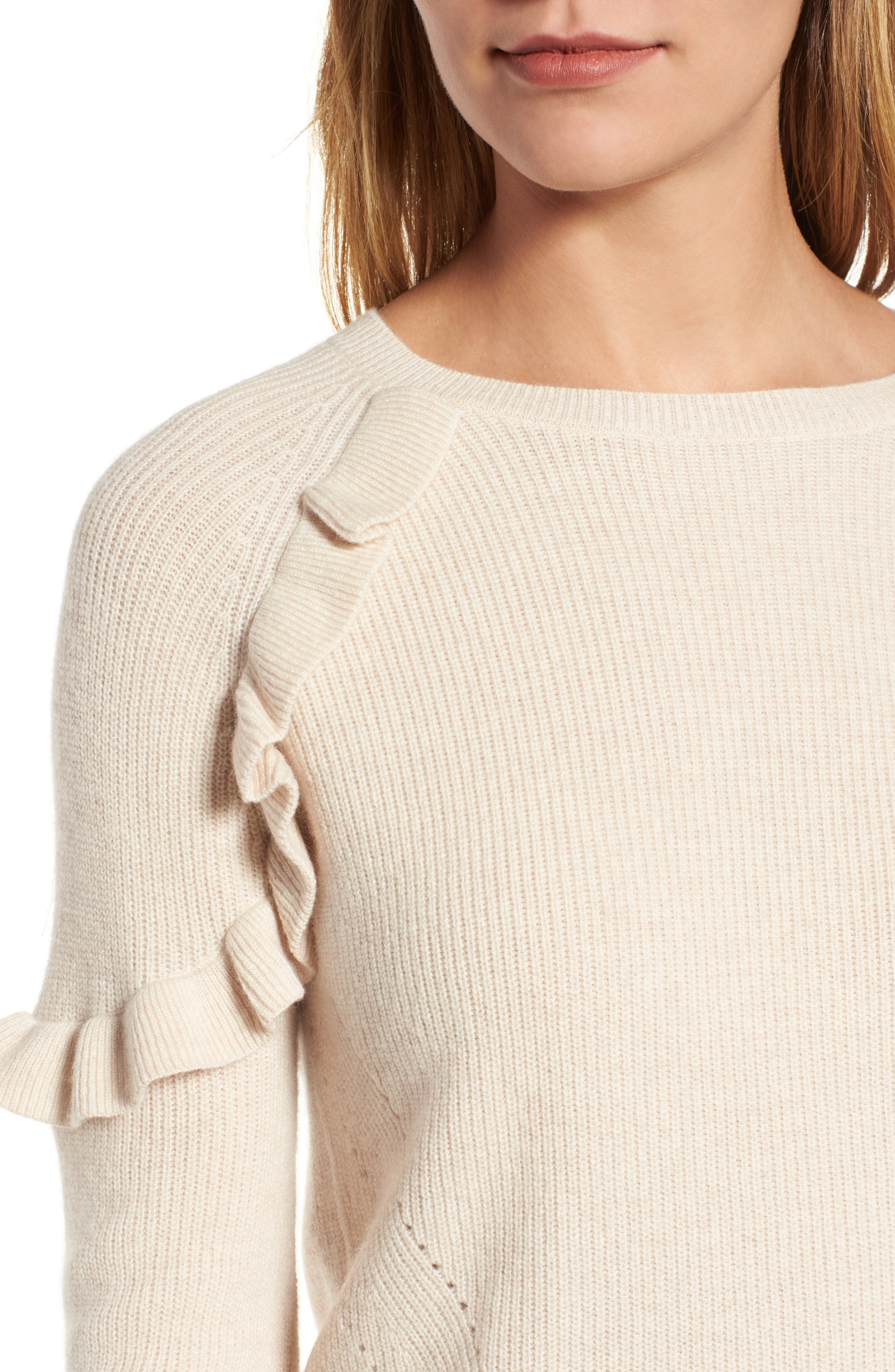 Cashmere Ruffle Shoulder Sweater,                             Alternate thumbnail 4, color,                             Bisque
