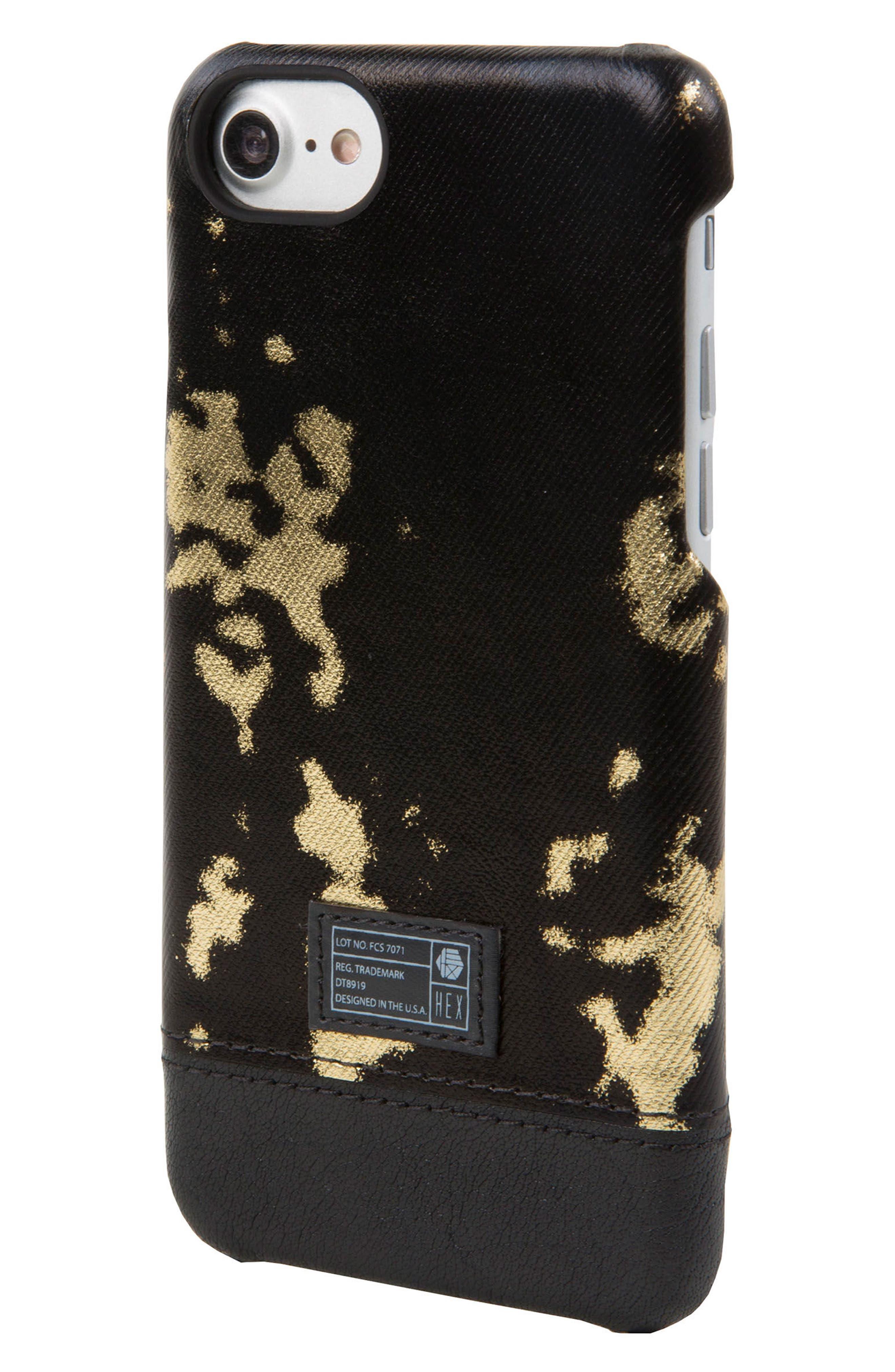Focus Leather iPhone 6/6s/7/8 Case,                             Main thumbnail 1, color,                             Black/ Gold