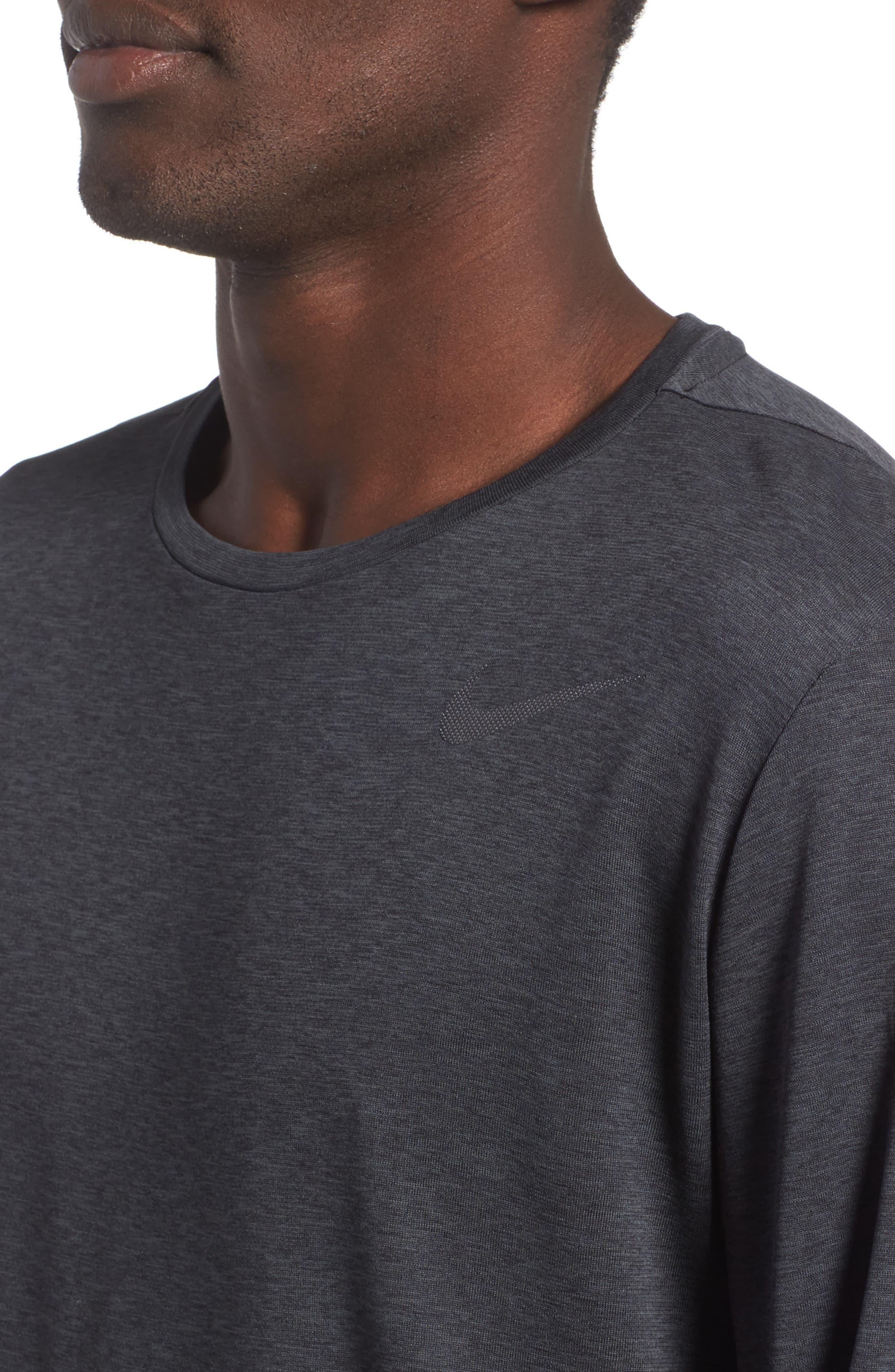 Long Sleeve Training T-Shirt,                             Alternate thumbnail 4, color,                             Black/ Anthracite/ Hematite