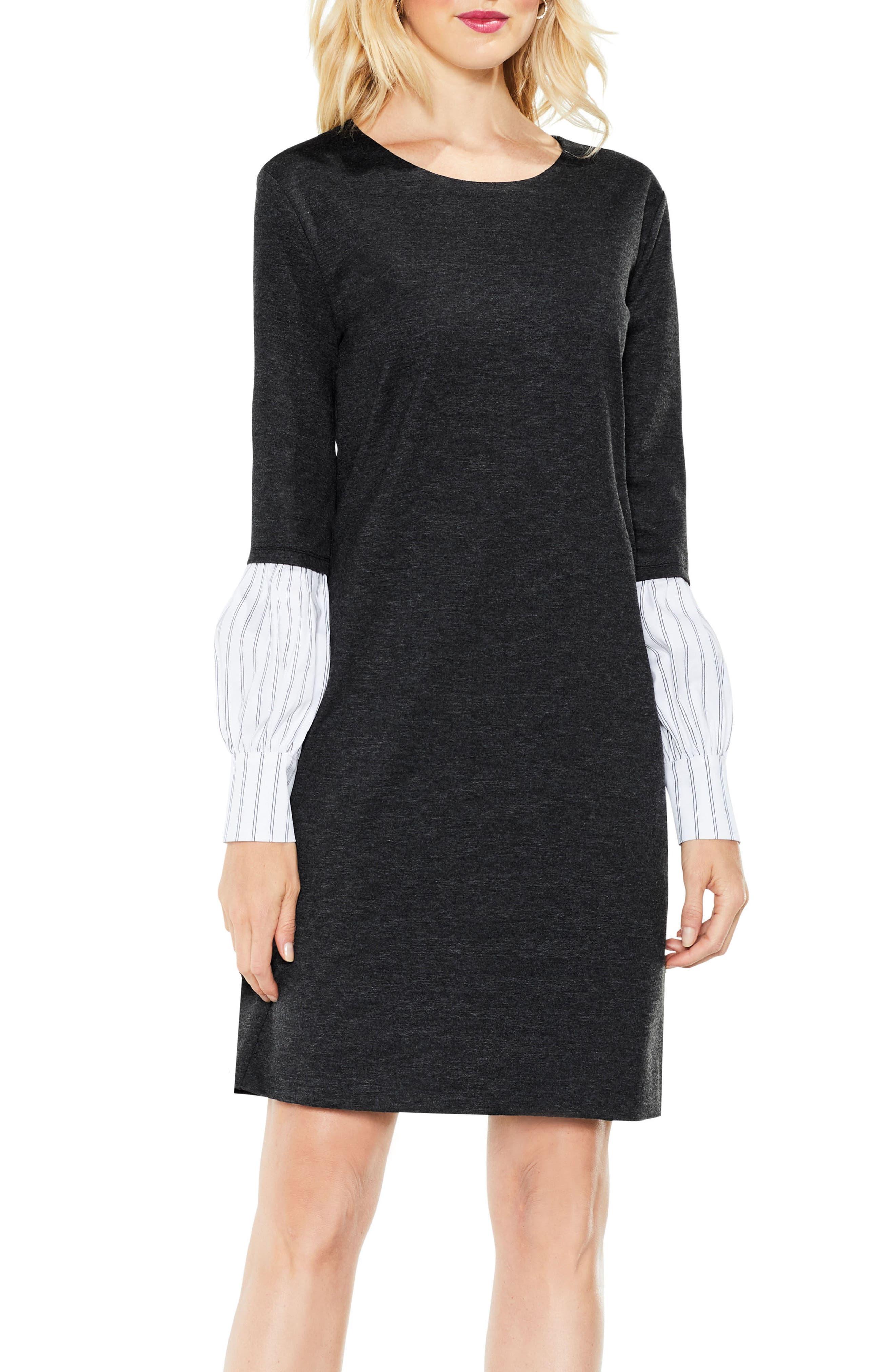 Bubble Sleeve Mix Media Dress,                         Main,                         color, Dark Heather Grey