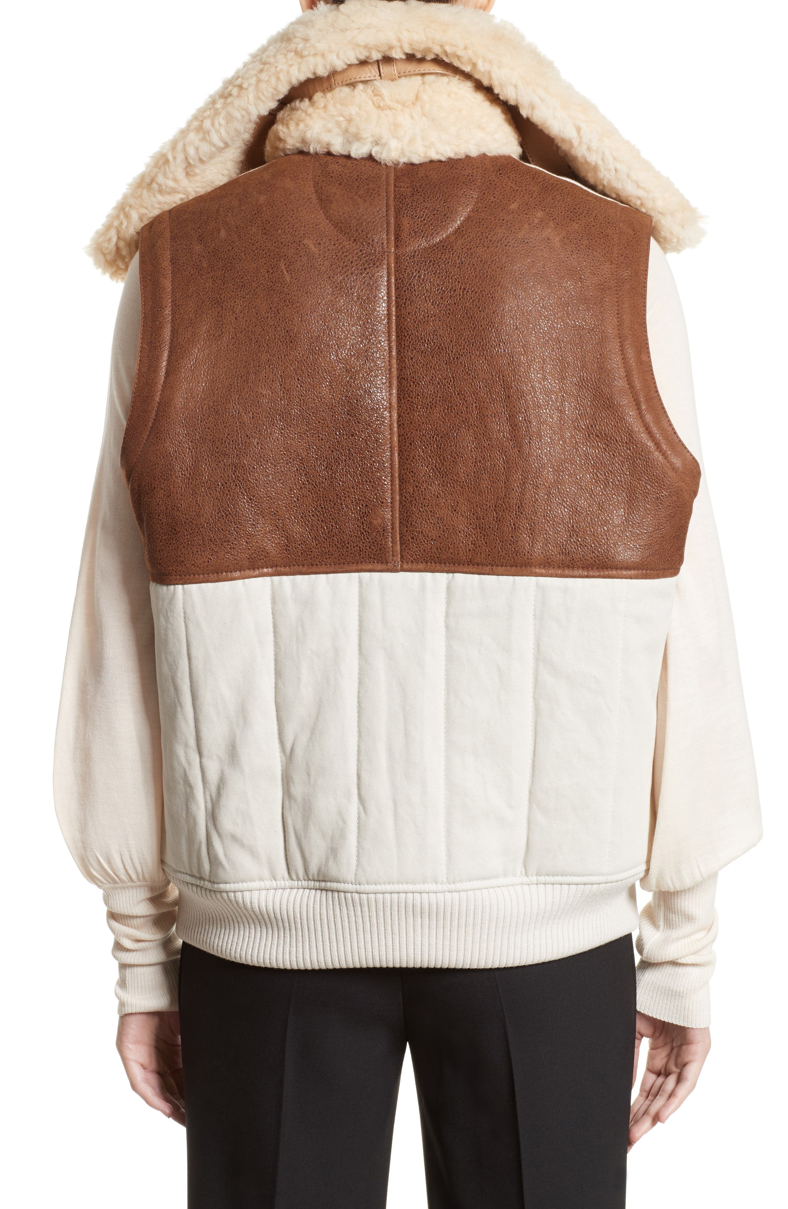 Genuine Shearling Trim Leather & Cotton Vest,                             Alternate thumbnail 3, color,                             Brown/ Beige