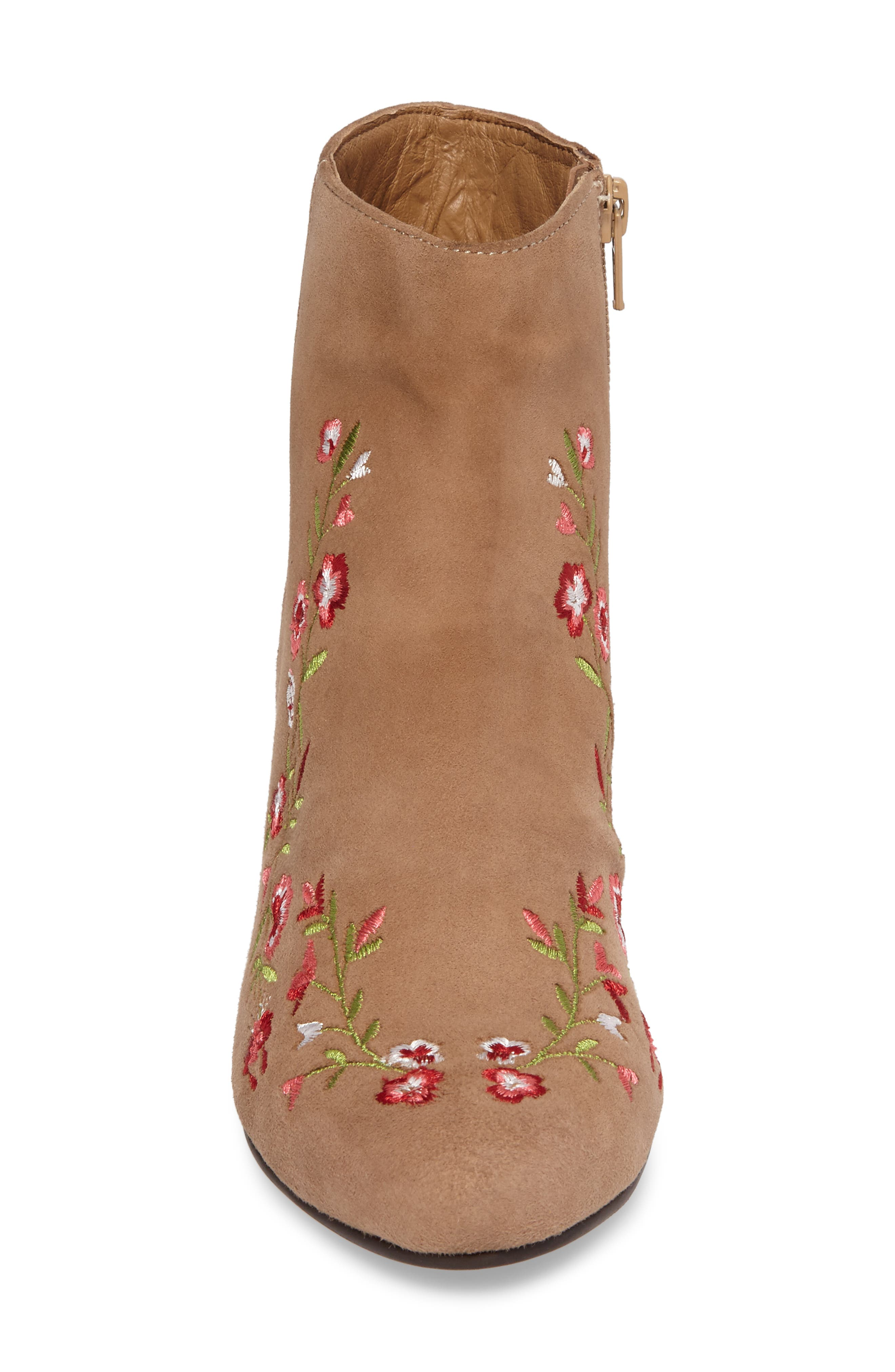 Veronaa Embroidered Bootie,                             Alternate thumbnail 4, color,                             Tan Suede