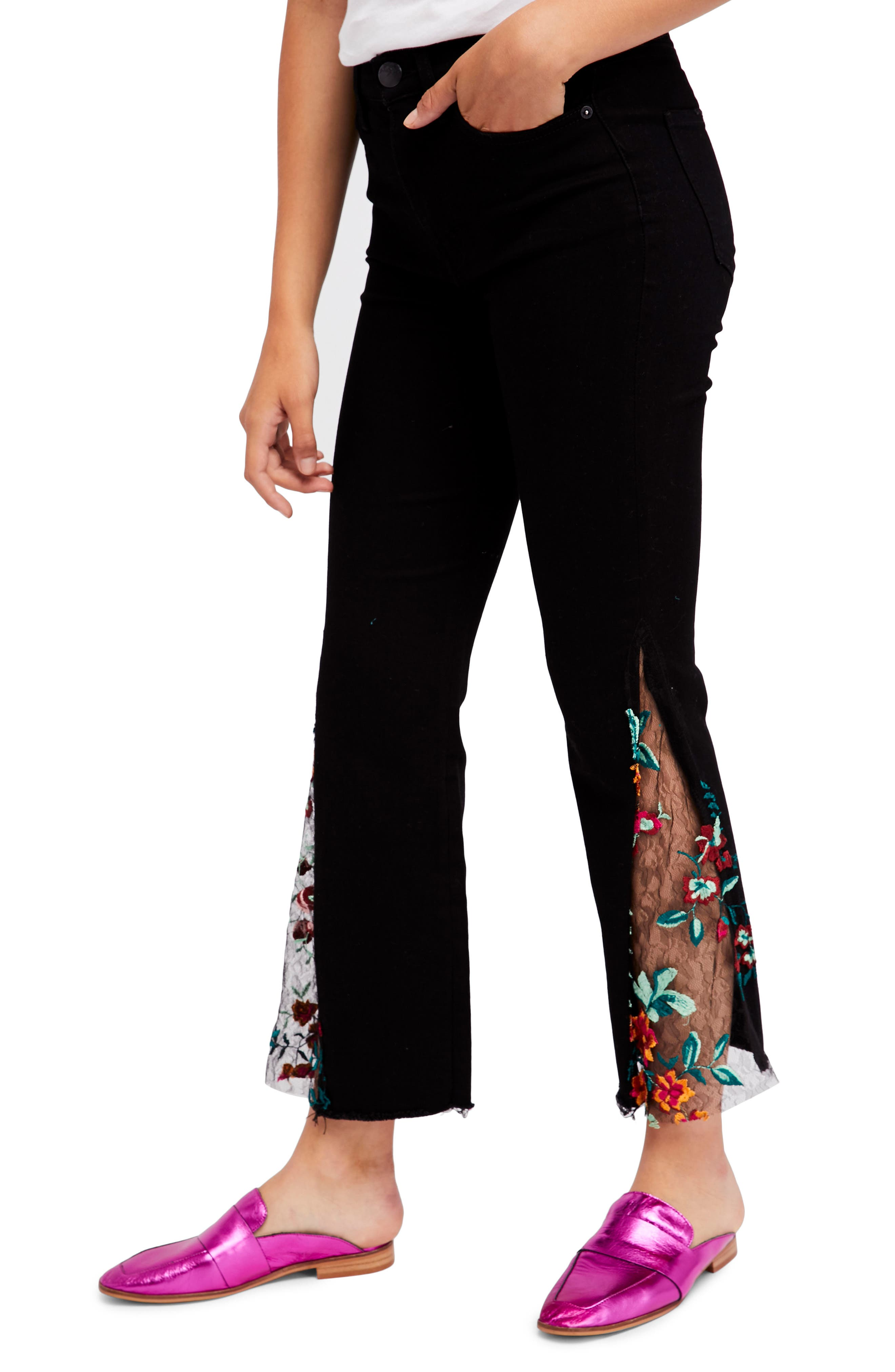 Embroidered Lace Flare Jeans,                             Main thumbnail 1, color,                             Black