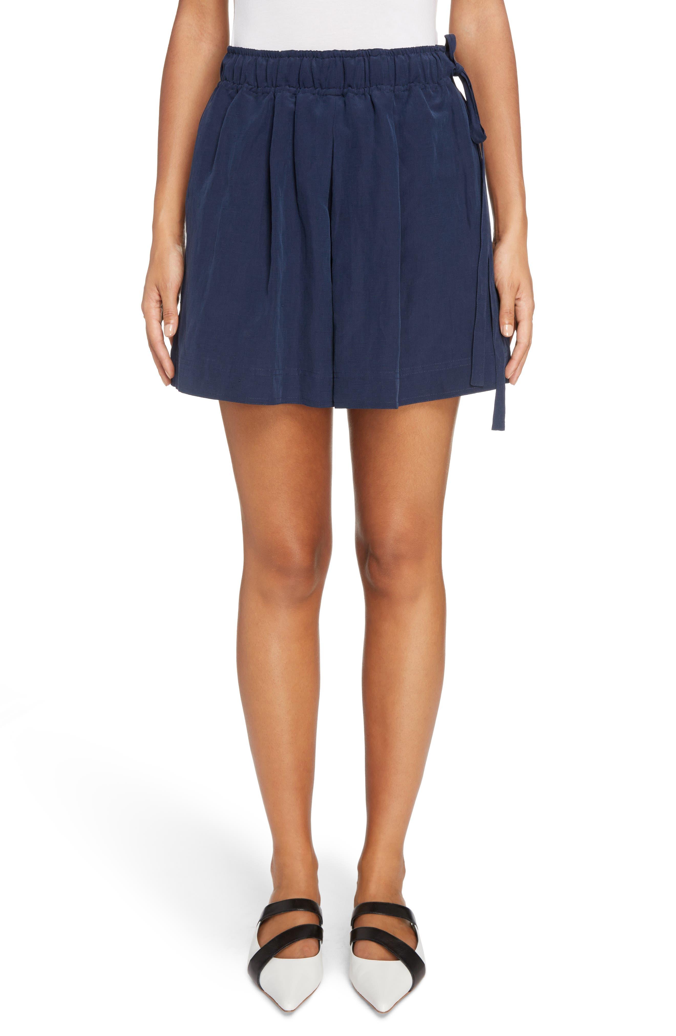 Leather Pocket Linen & Silk Boxer Shorts,                         Main,                         color, Navy
