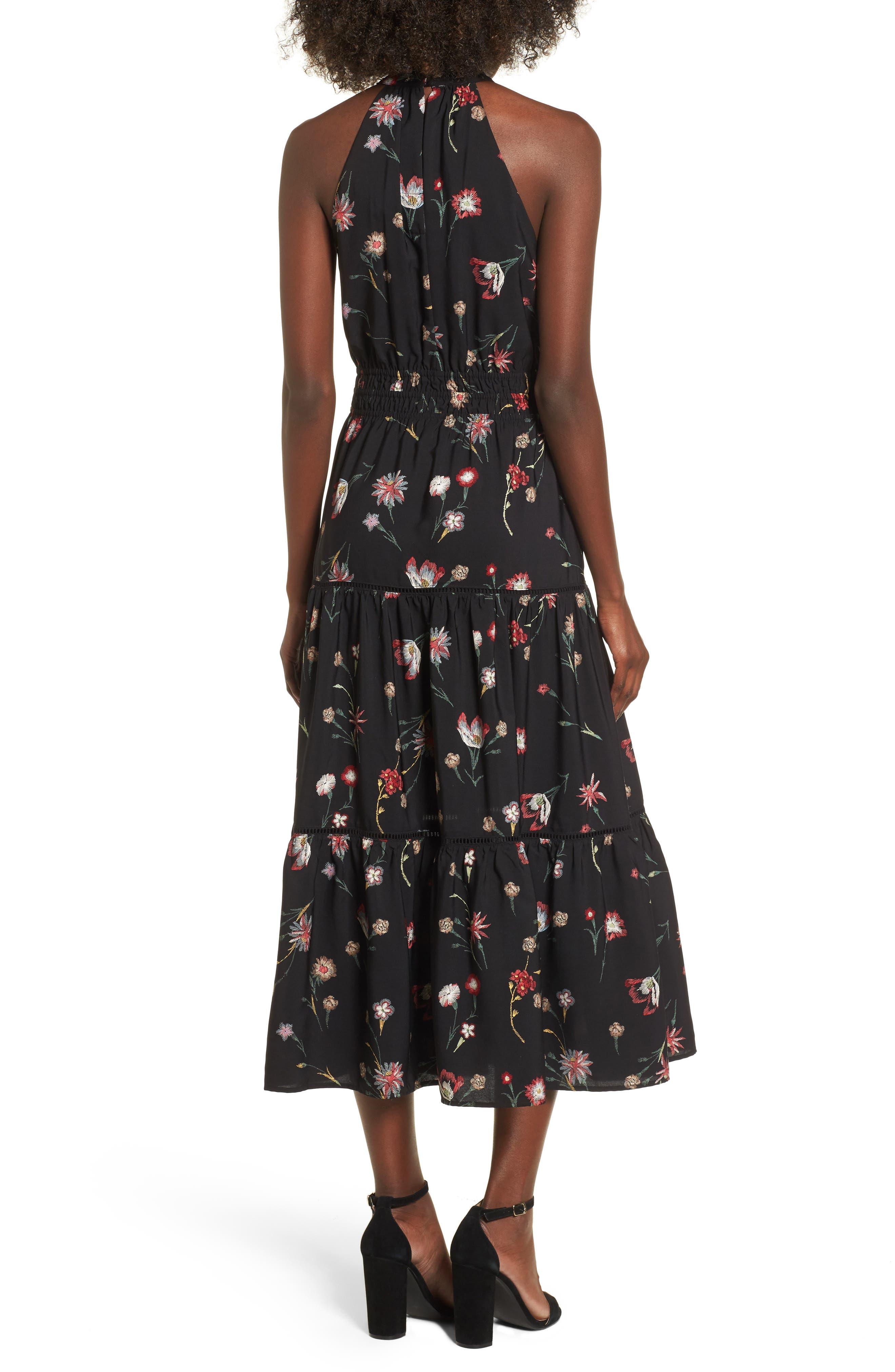 Fleur Halter Midi Dress,                             Alternate thumbnail 2, color,                             Black Floral