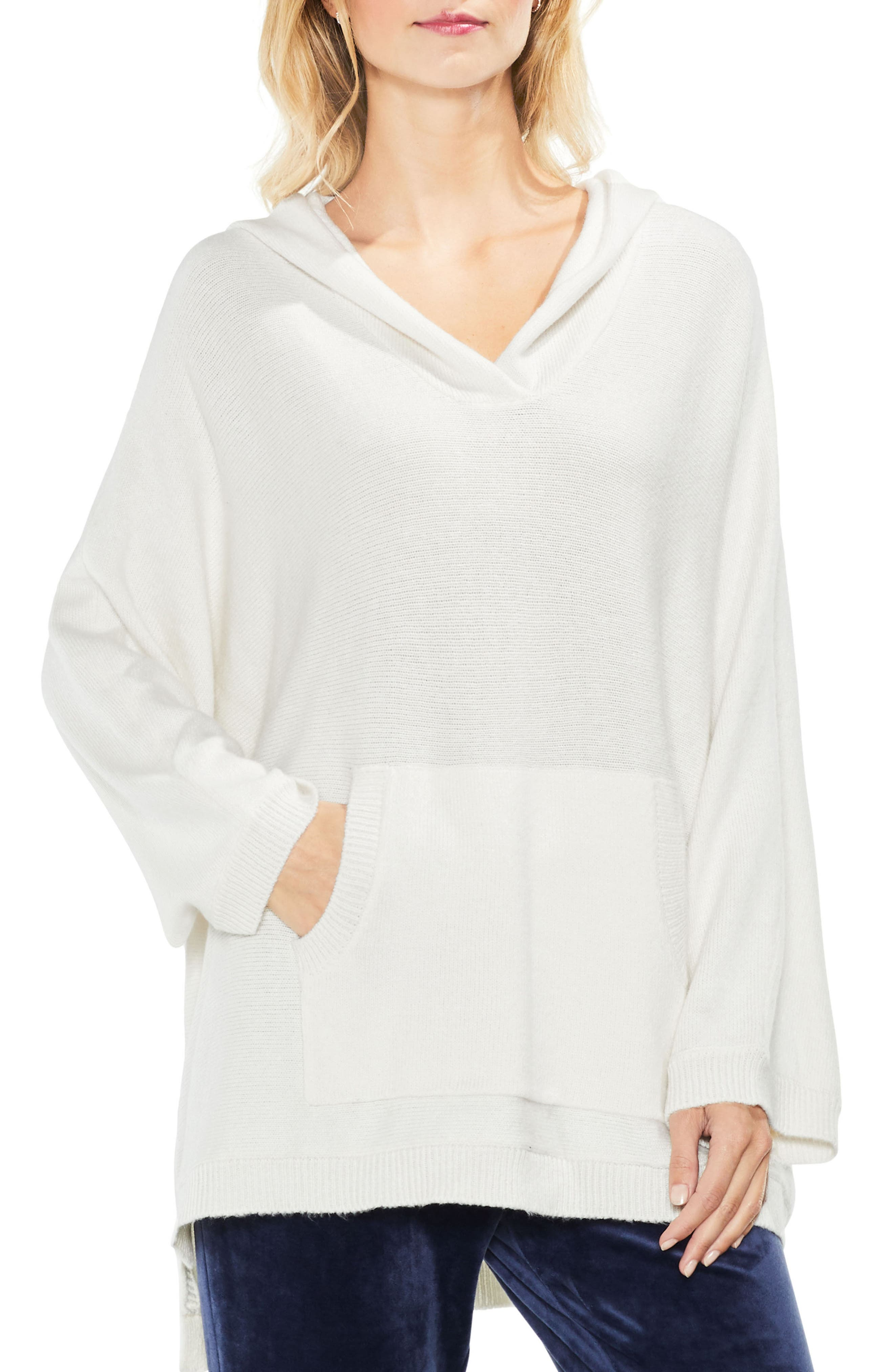 Dolman Sleeve Relaxed Hooded Sweater,                             Main thumbnail 1, color,                             Antique White