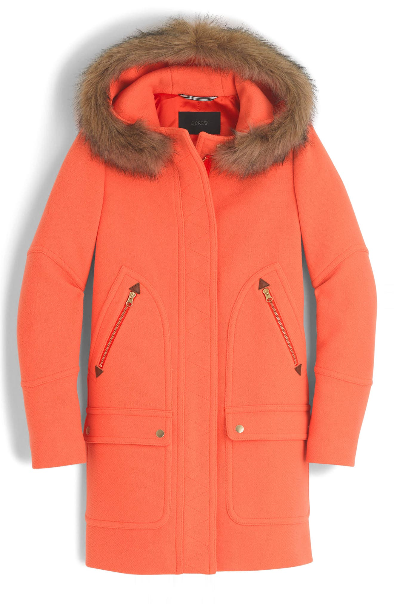 Chateau Stadium Cloth Parka with Faux Fur Trim,                             Main thumbnail 1, color,                             Neon Tangelo