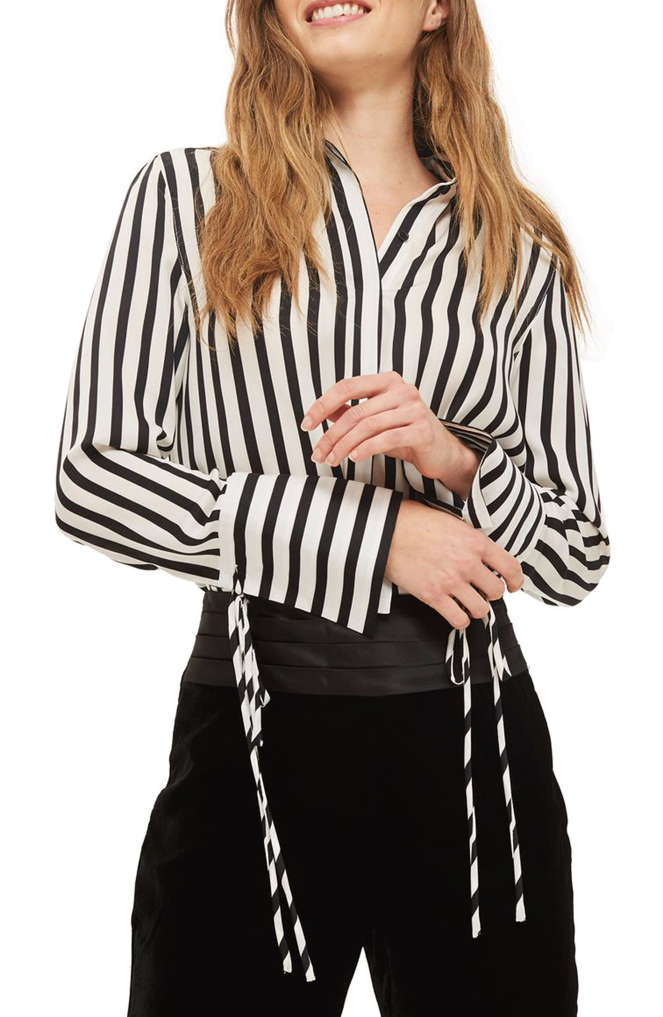 Main Image - Topshop Tie Cuff Stripe Shirt