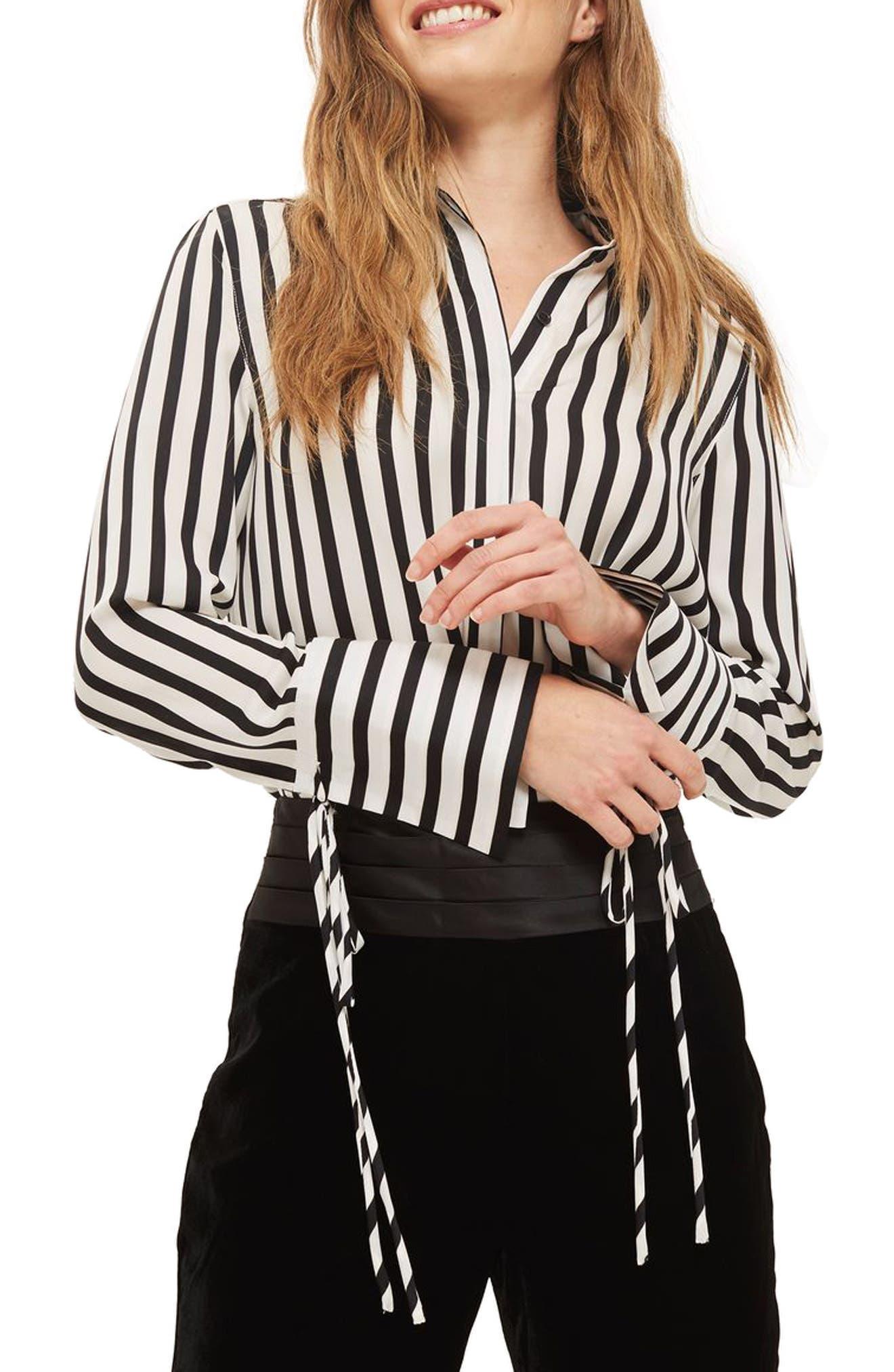 Tie Cuff Stripe Shirt,                         Main,                         color, Black Multi