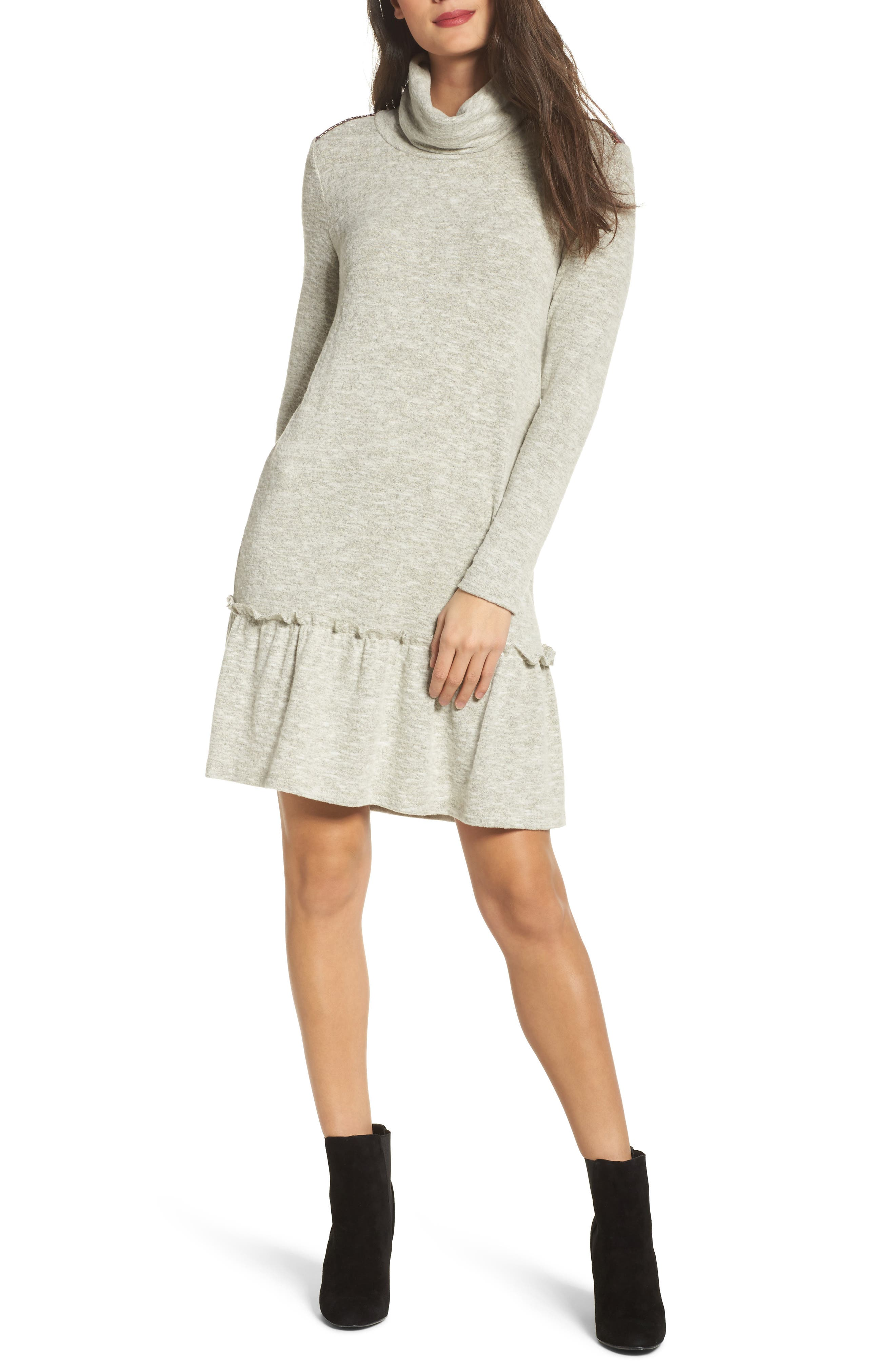 Drop Waist Sweater Dress,                             Main thumbnail 1, color,                             Heather Grey