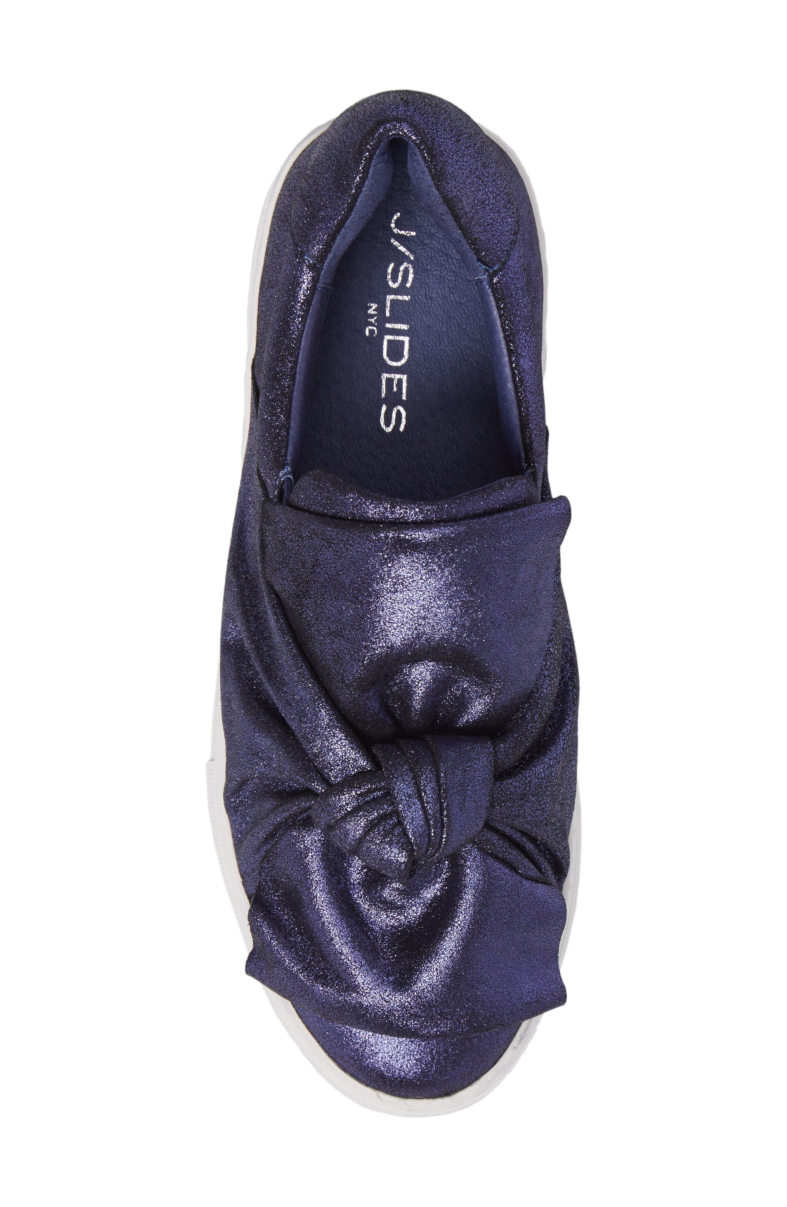 Audra Slip-On Sneaker,                             Alternate thumbnail 5, color,                             Navy Leather