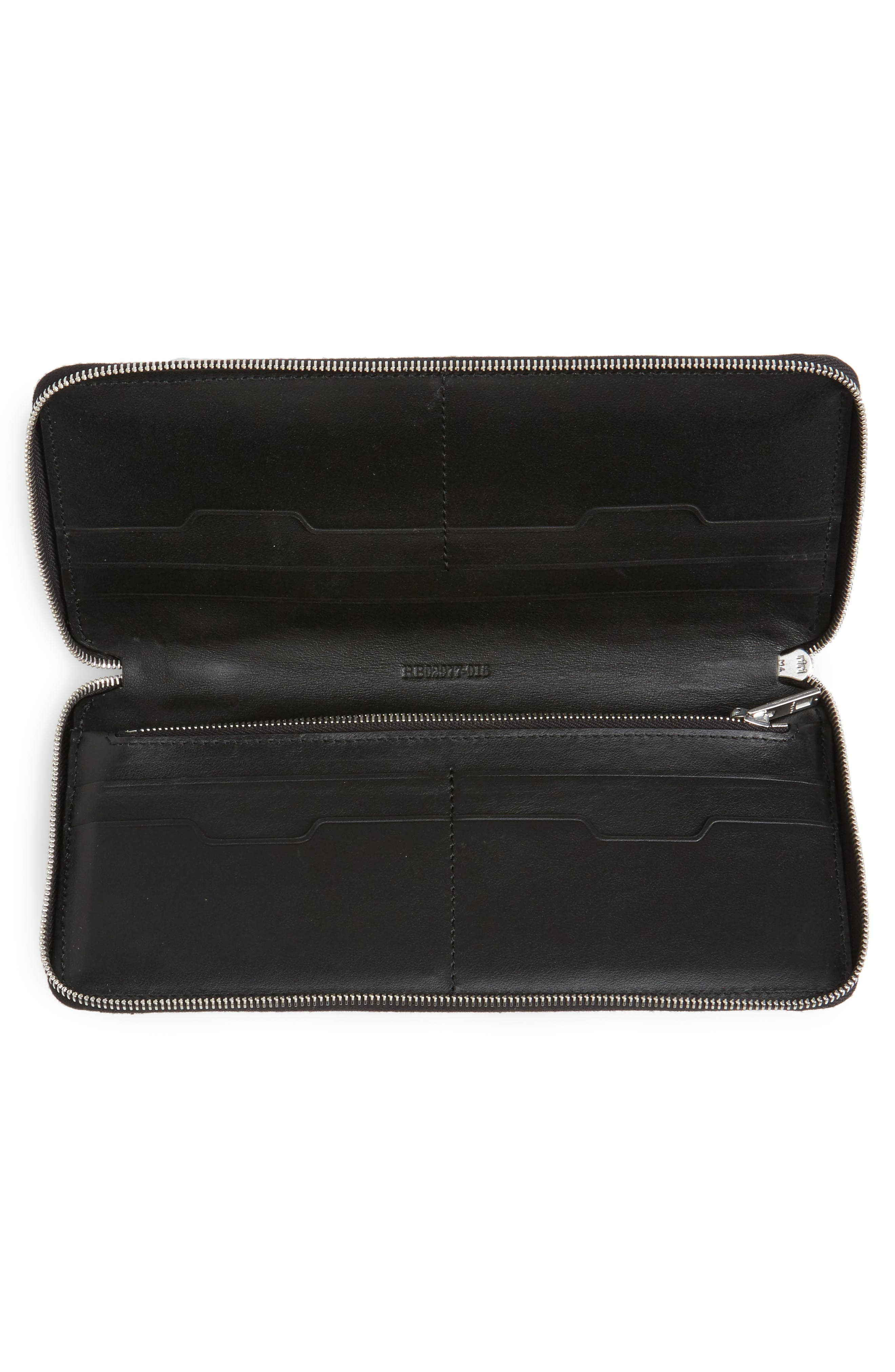 Studded Calfskin Leather Zip-Around Wallet,                             Alternate thumbnail 2, color,                             Black Studs