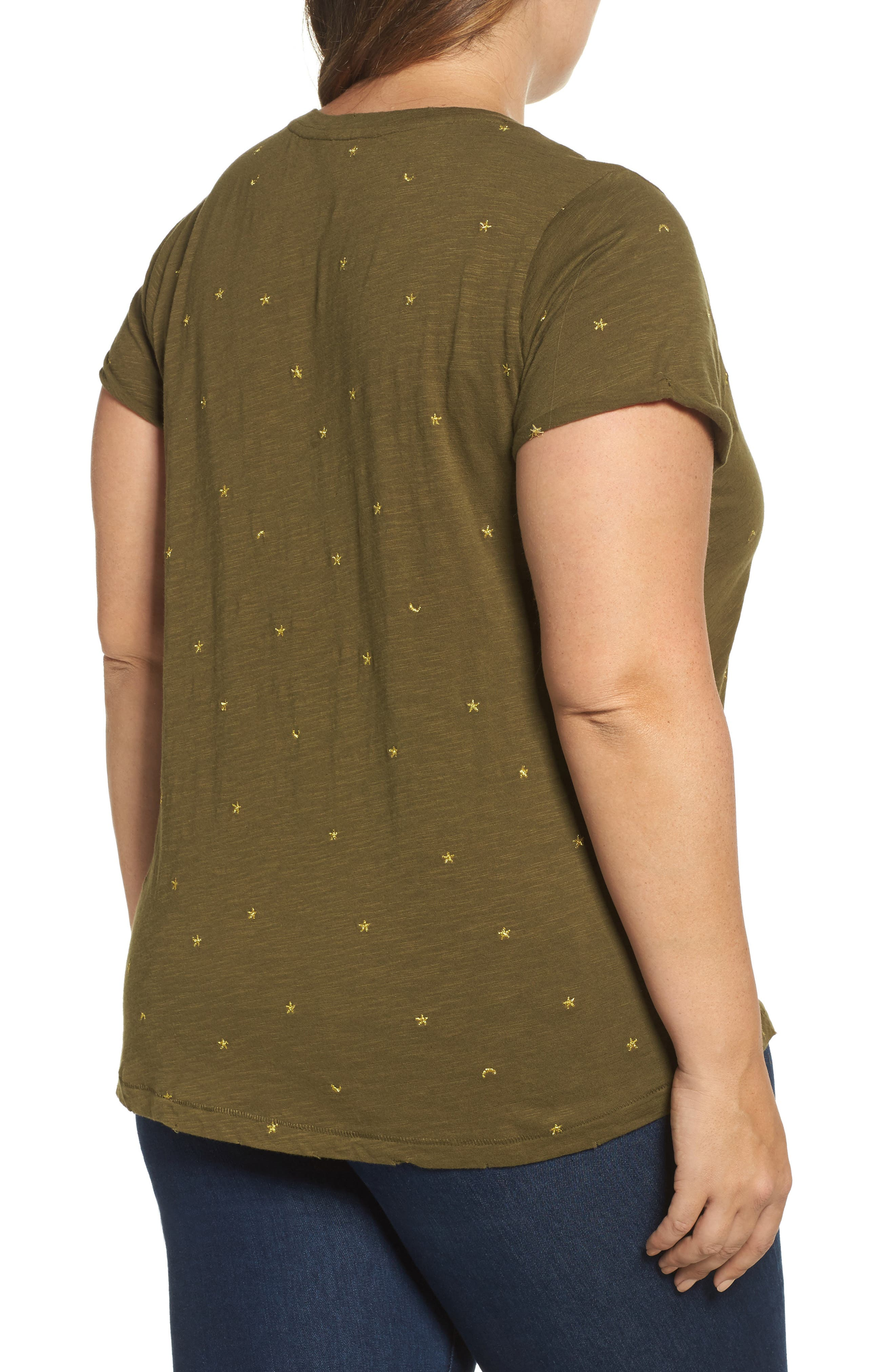 Alternate Image 2  - Lucky Brand Embroidered Tee (Plus Size)