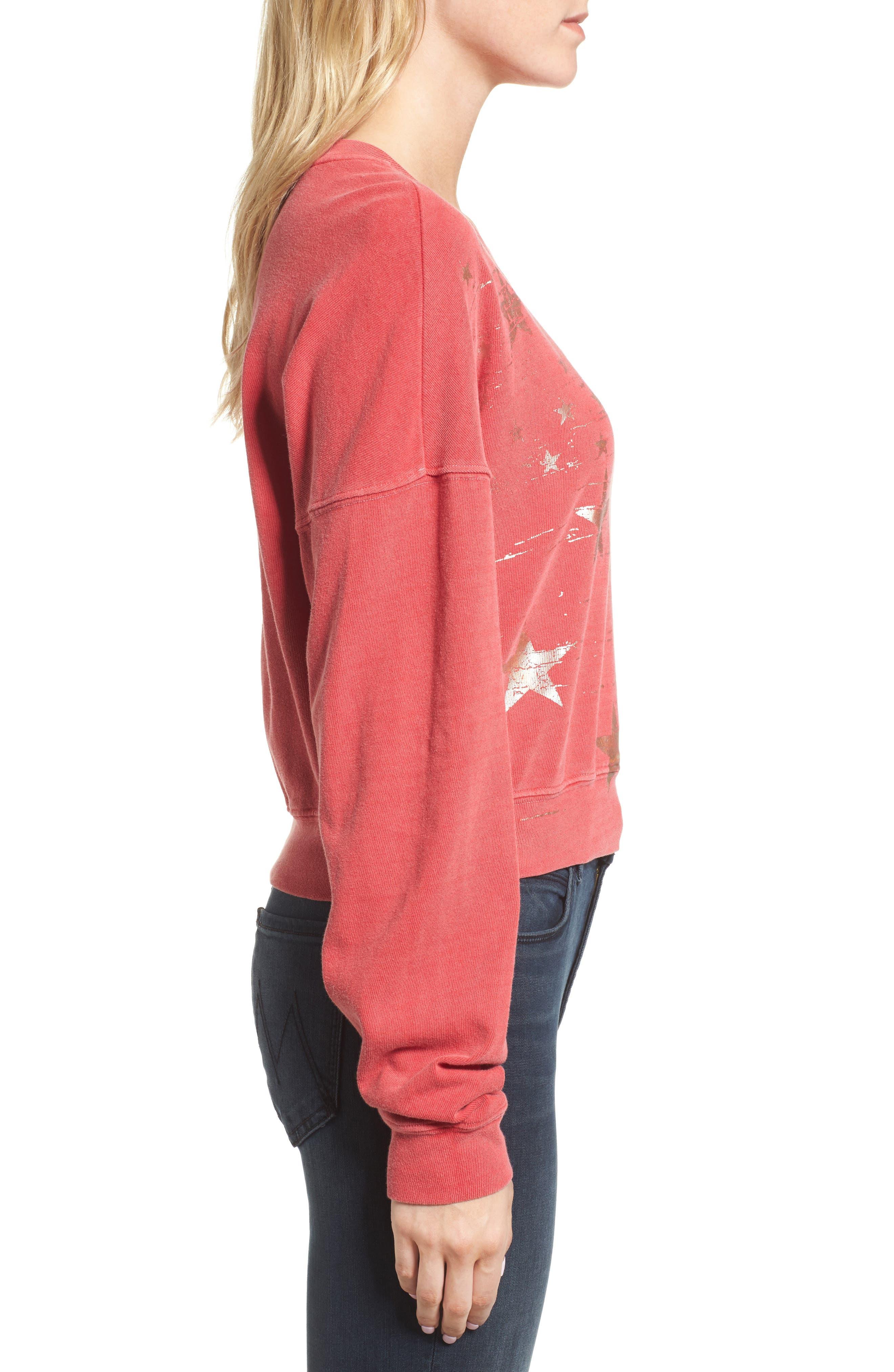 Foil Star Sweatshirt,                             Alternate thumbnail 4, color,                             Scarlet