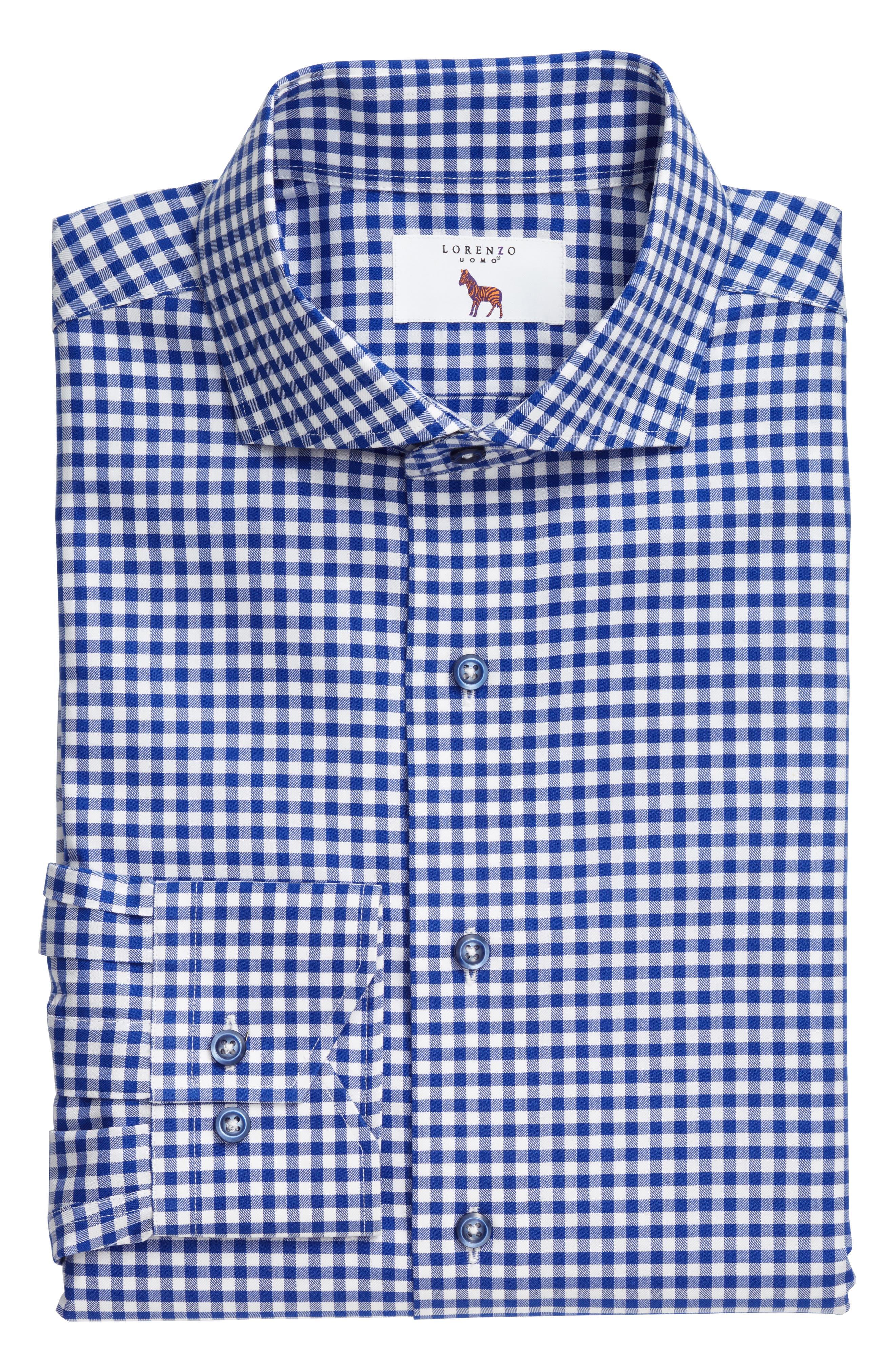 Main Image - Lorenzo Uomo Trim Fit Textured Gingham Dress Shirt