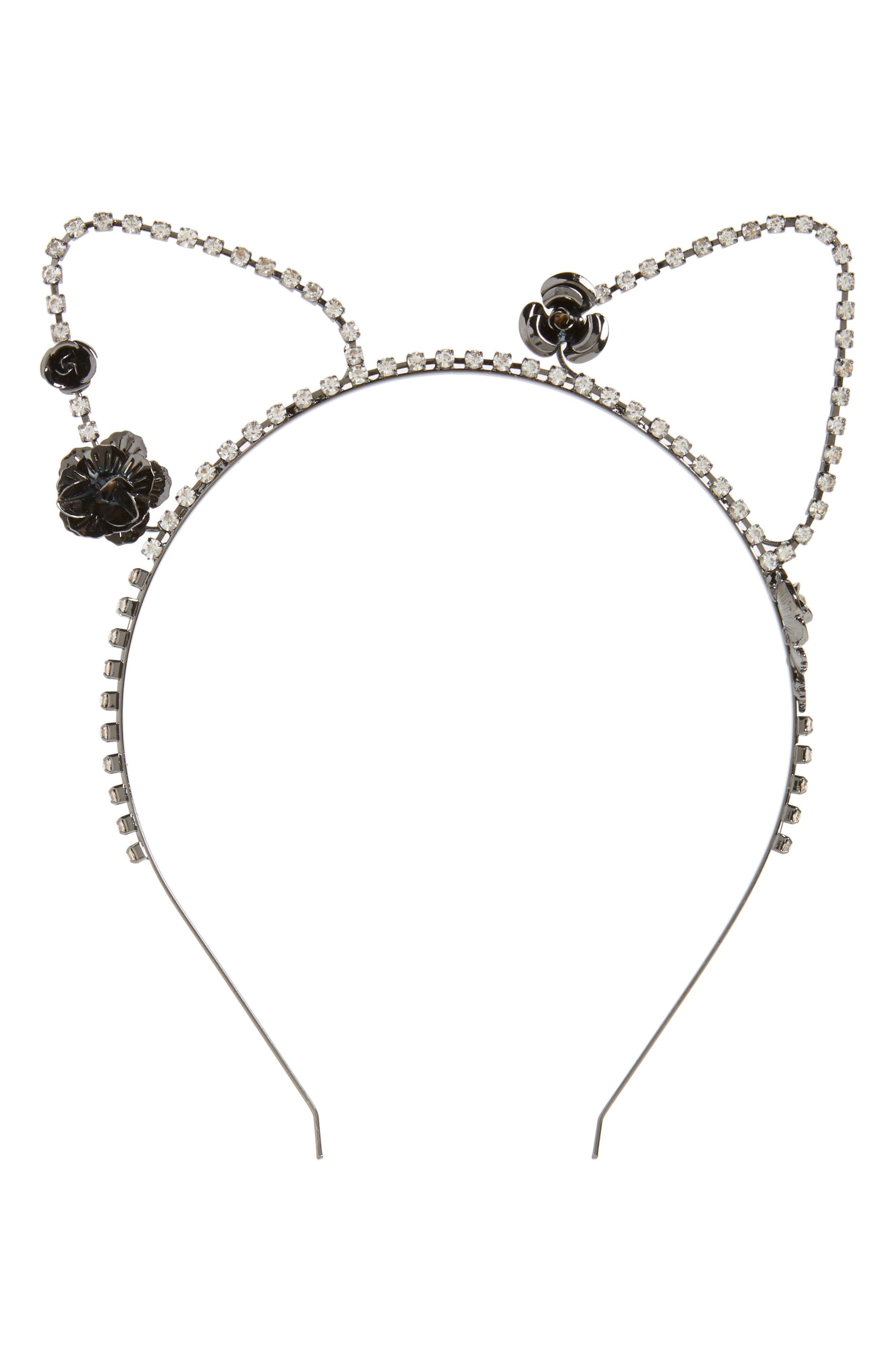 Cat Ears & Roses Headband,                         Main,                         color, Black