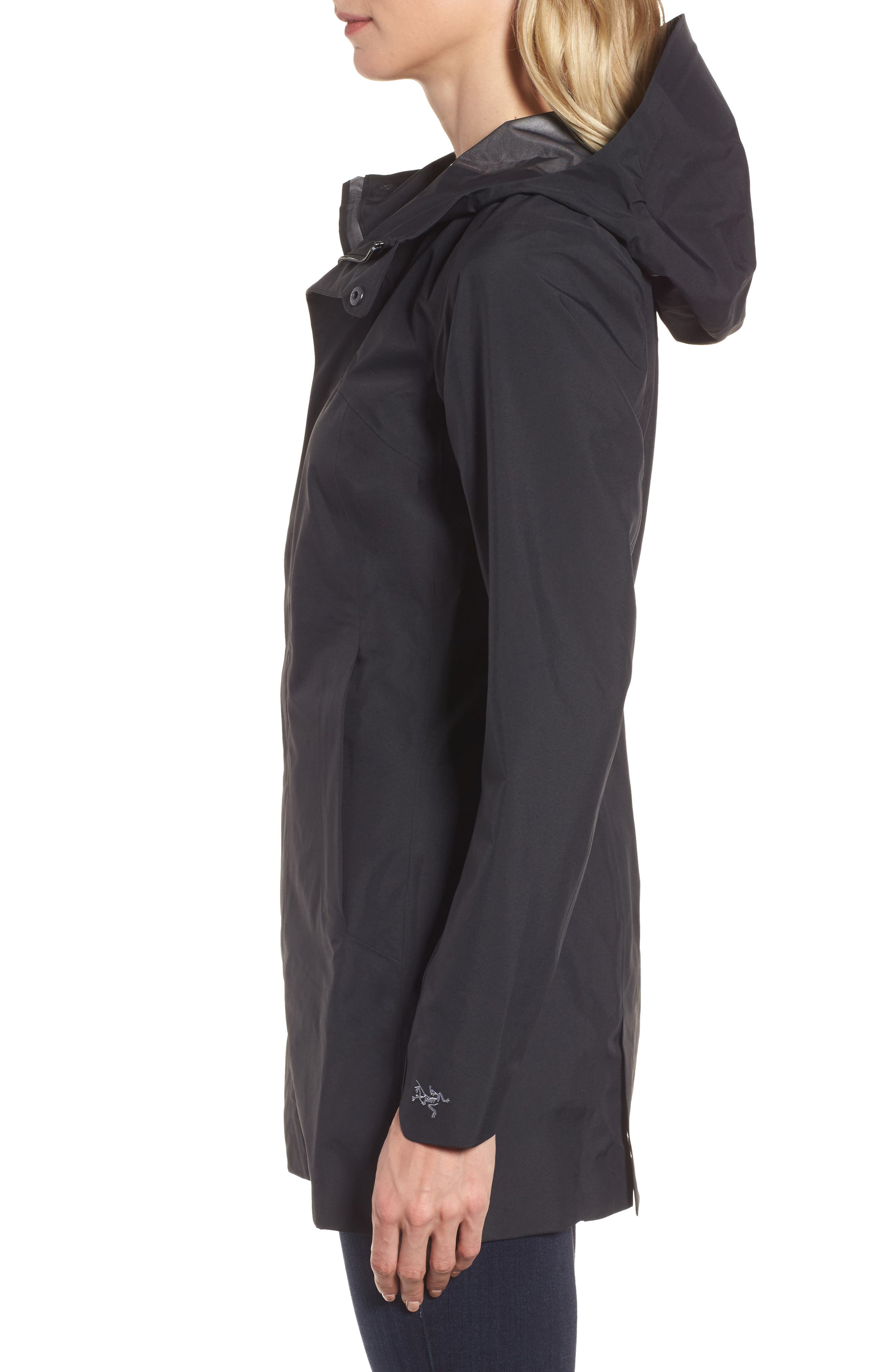 Codetta Waterproof Relaxed Fit Gore-Tex<sup>®</sup> 3L Rain Jacket,                             Alternate thumbnail 3, color,                             Black