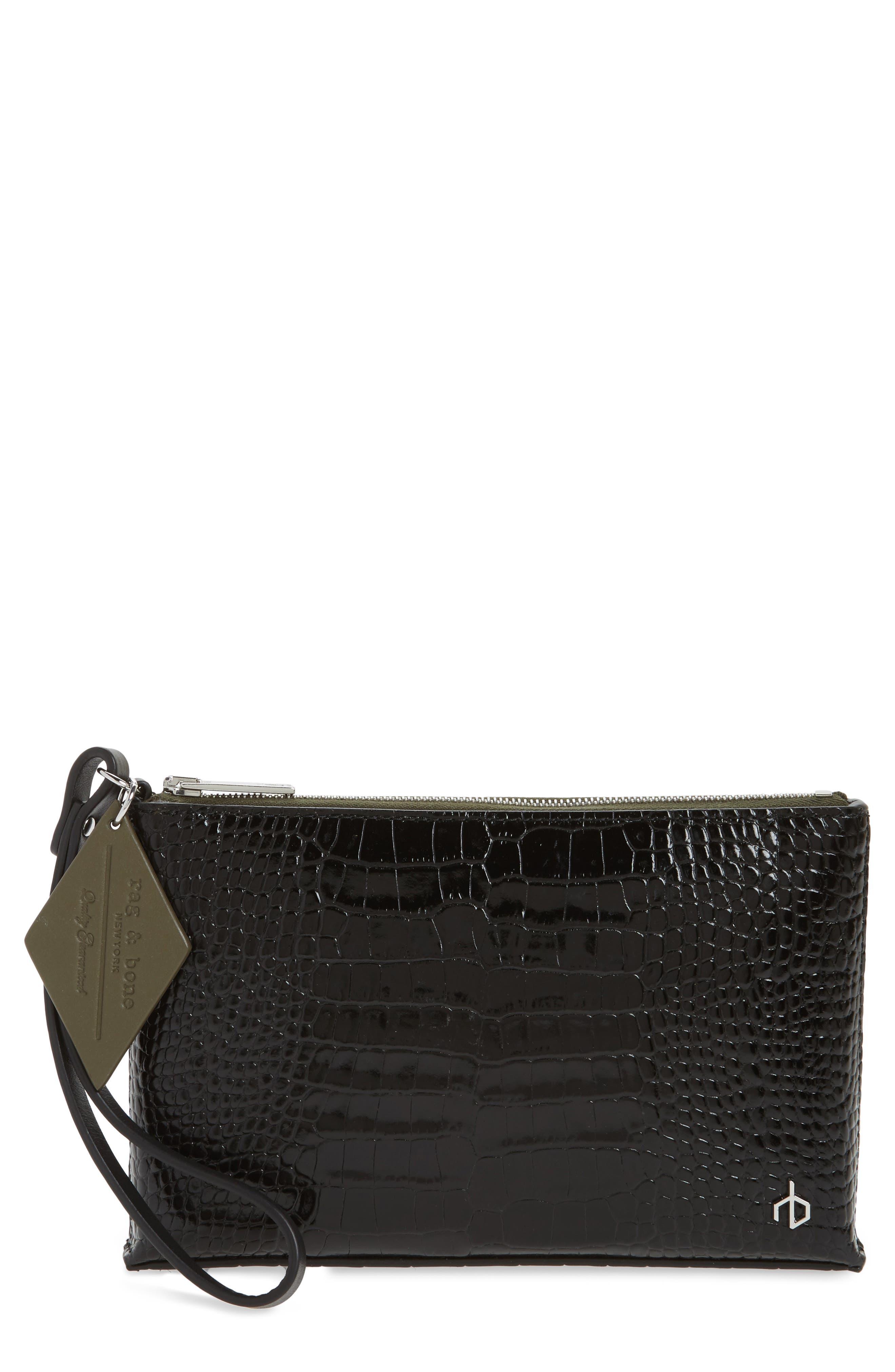 Croc Embossed Leather Wristlet,                         Main,                         color, Black Croco
