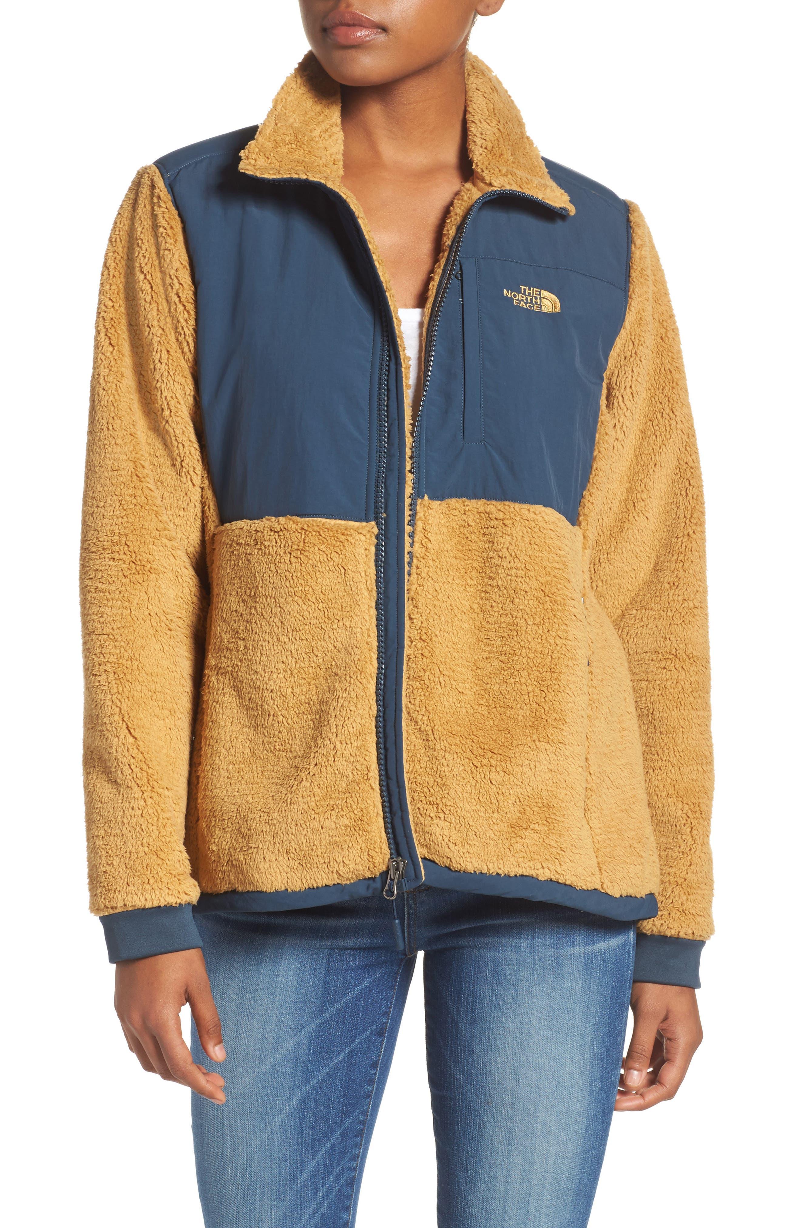 Novelty Denali Fleece Jacket,                         Main,                         color, Biscuit Tan/ Ink Blue