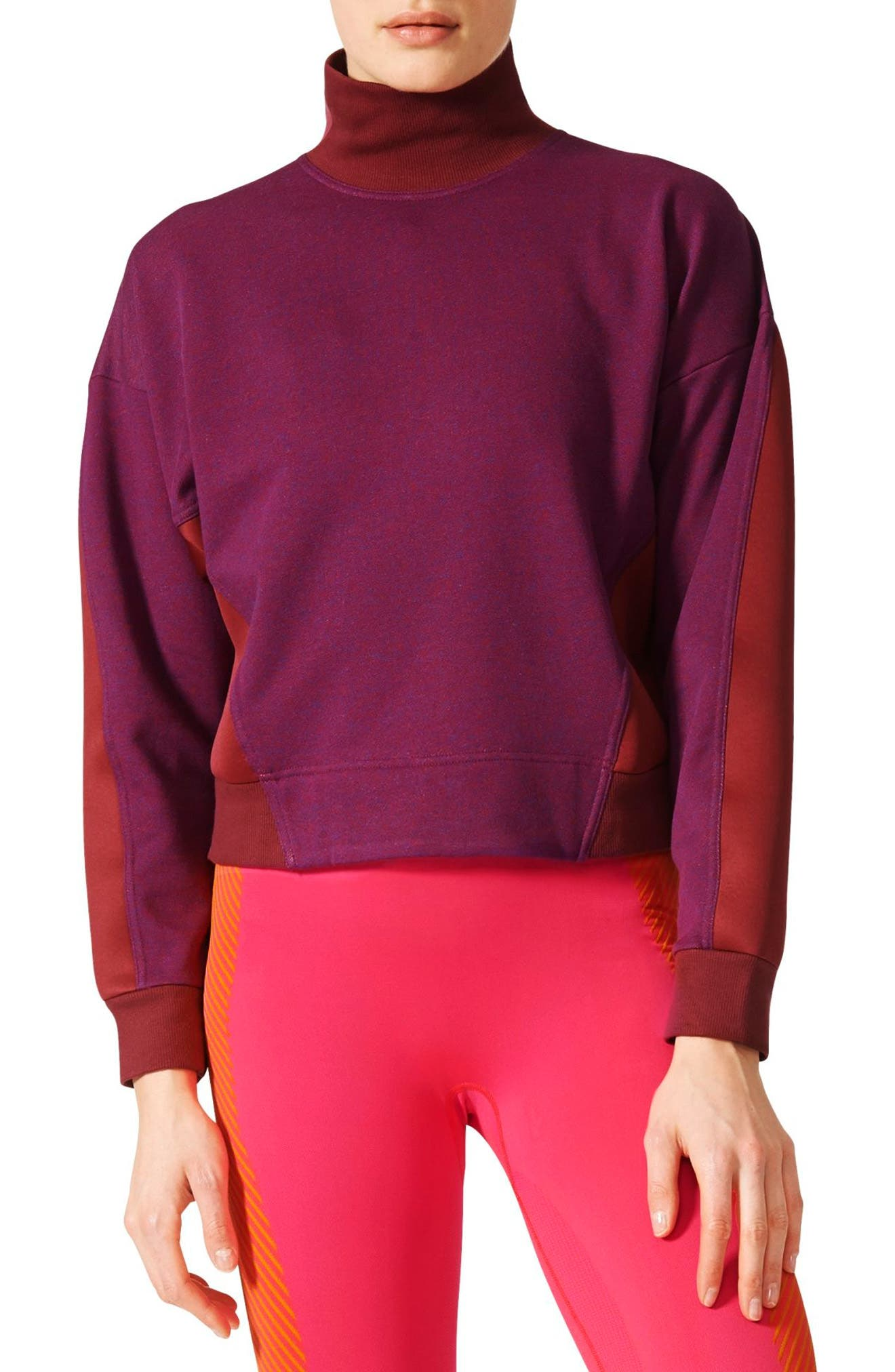 Main Image - adidas by Stella McCartney Yoga Turtleneck Sweatshirt