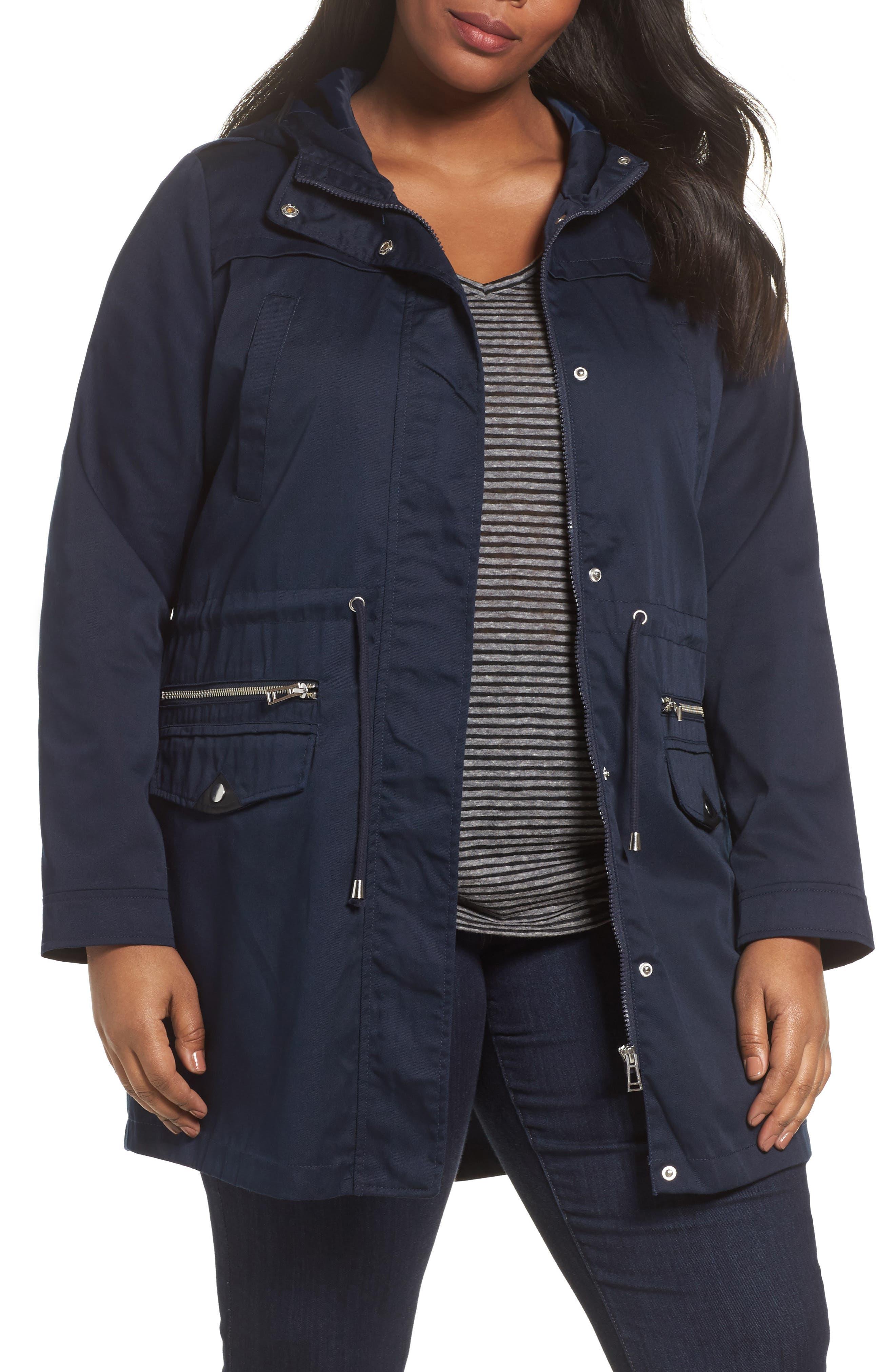 Hooded Parka,                         Main,                         color, Navy Blazer