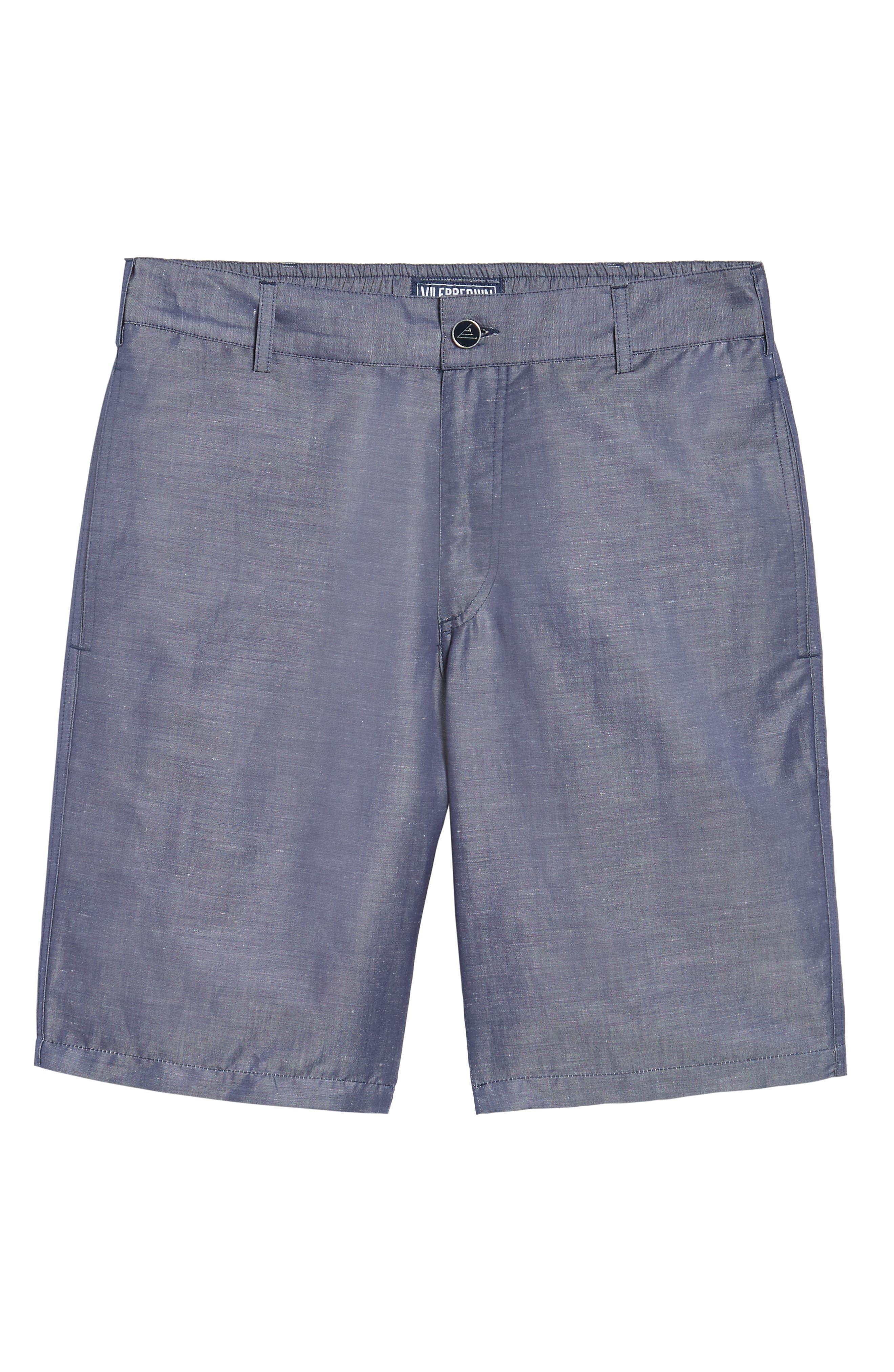 Linen Blend Bermuda Shorts,                             Alternate thumbnail 6, color,                             Blue Jean