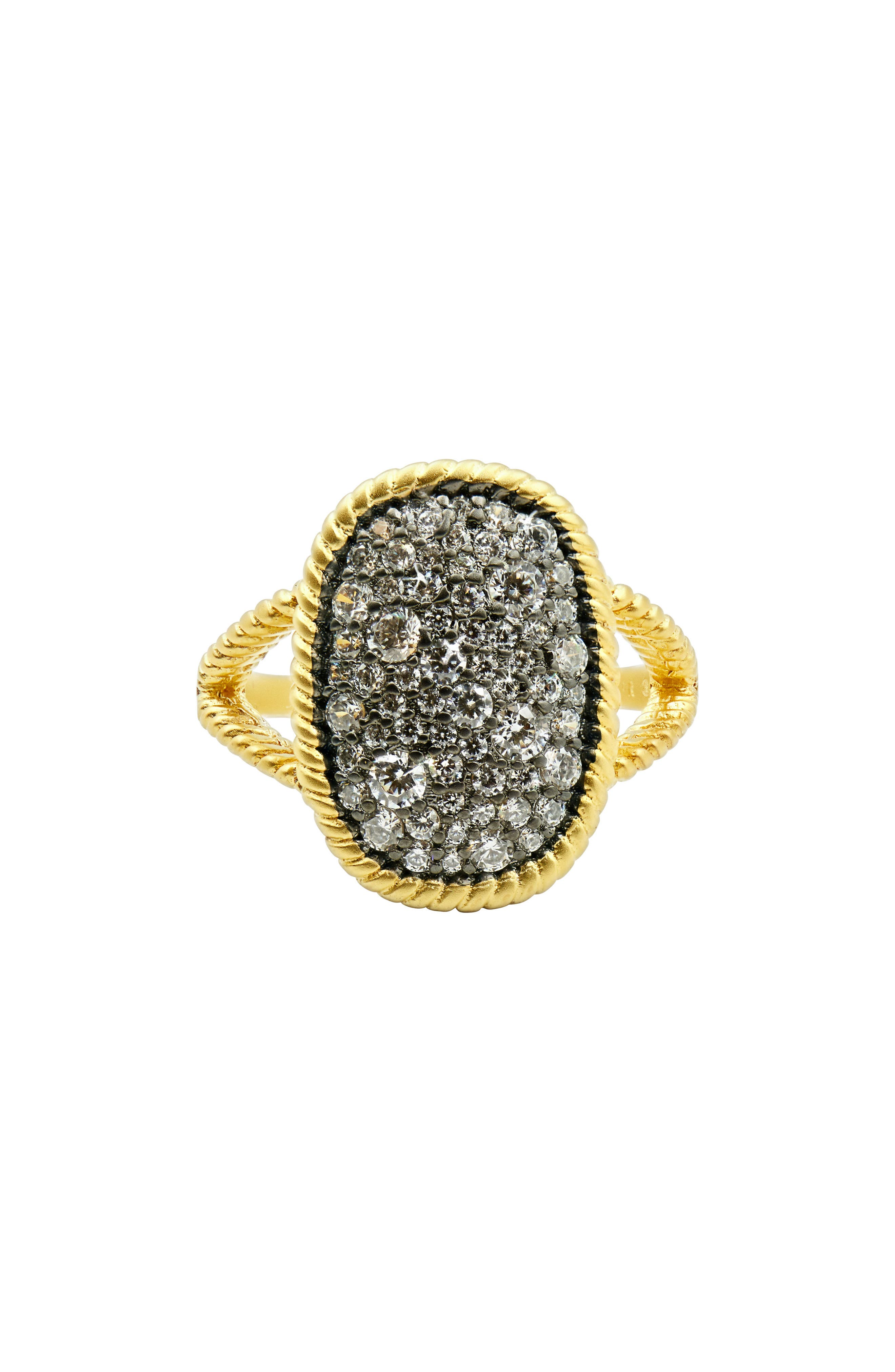 FREIDA ROTHMAN Gilded Cable Large Pavé Cocktail Ring