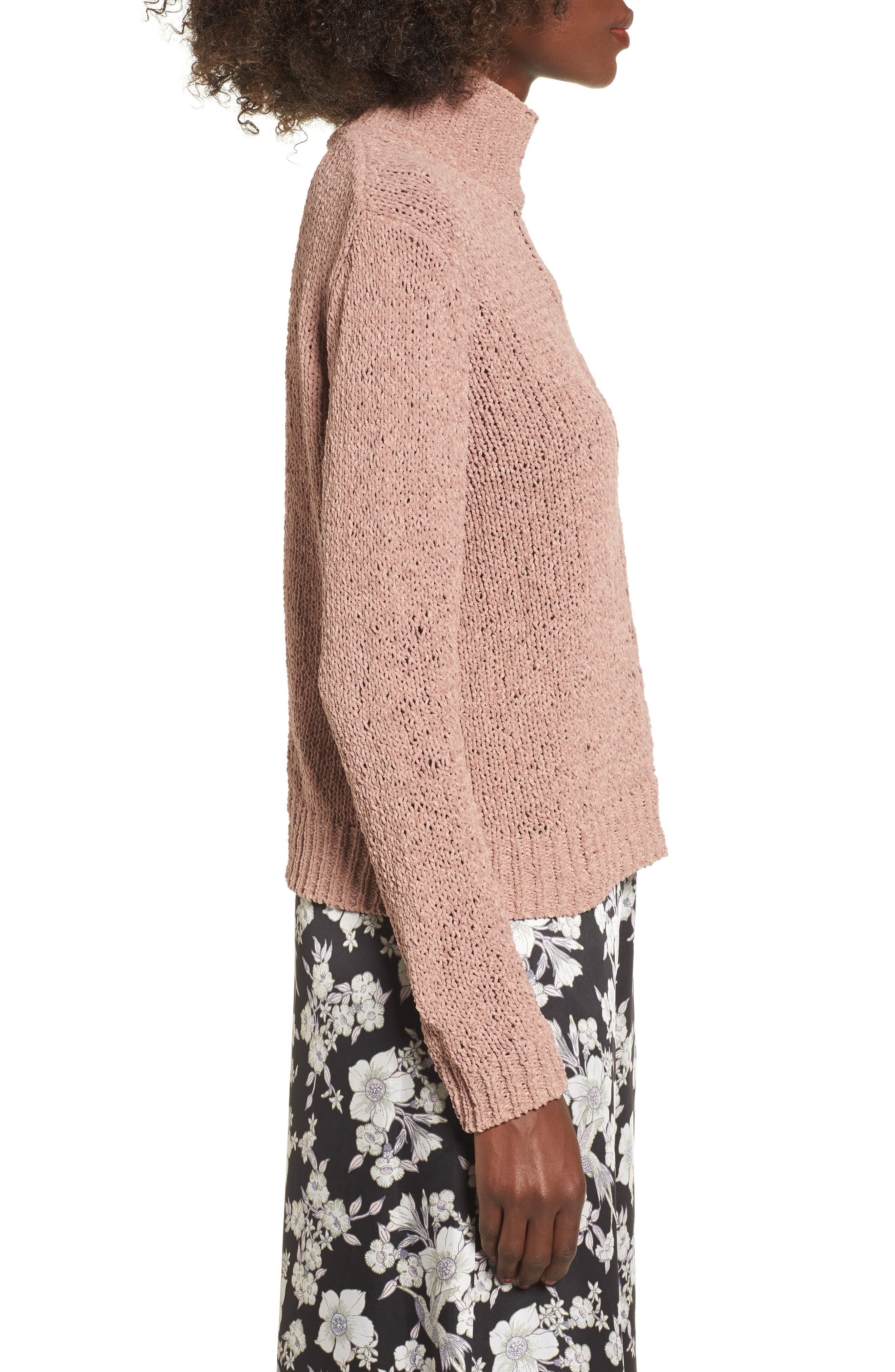 Jolie Chenille Sweater,                             Alternate thumbnail 3, color,                             Mauve