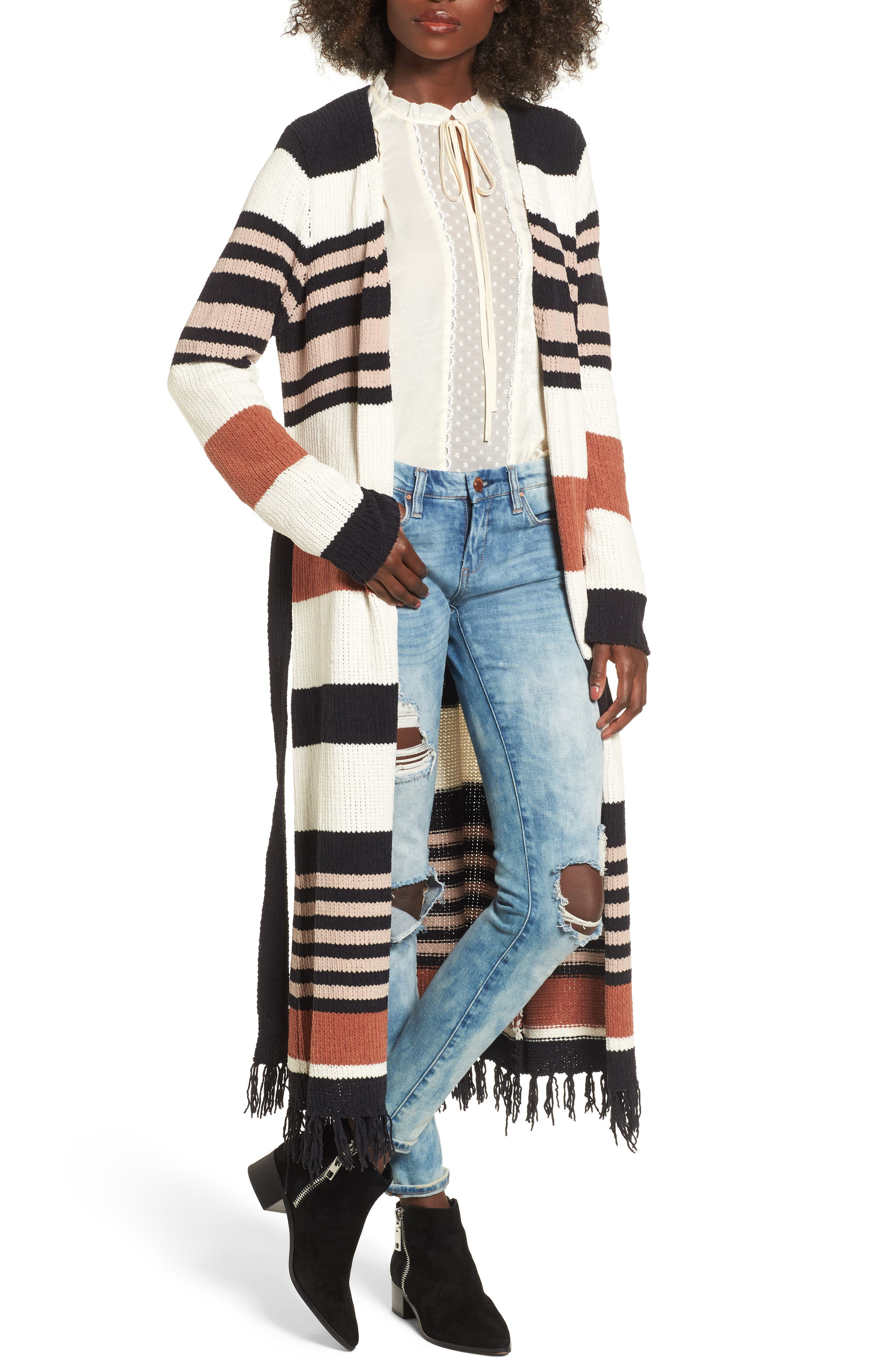 Belted Stripe Knit Duster,                             Main thumbnail 1, color,                             Black Stripe