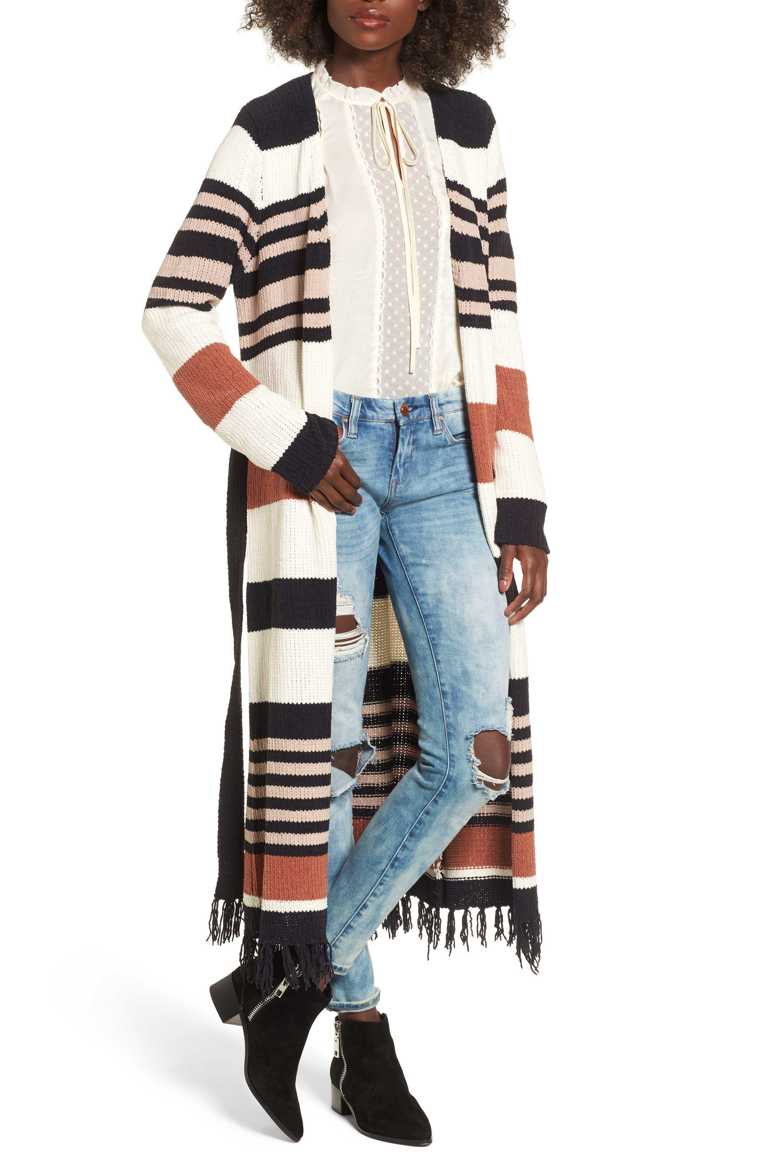 Belted Stripe Knit Duster,                         Main,                         color, Black Stripe